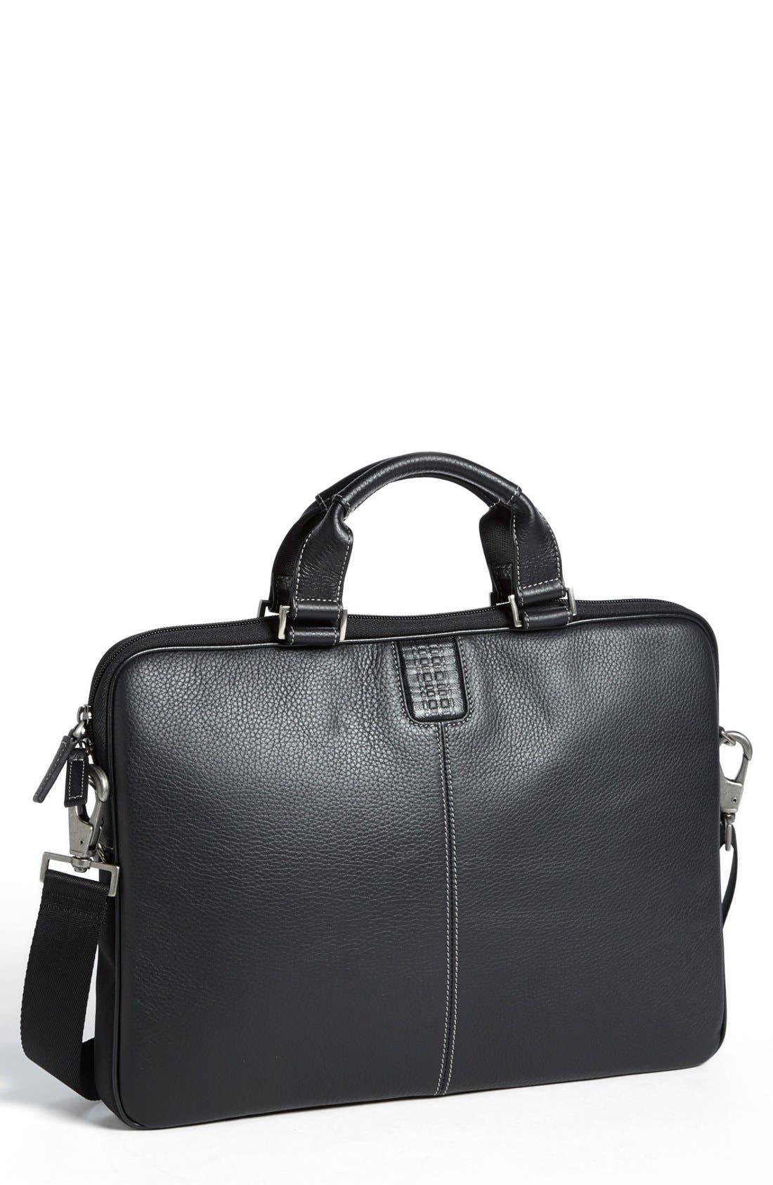 BOCONI, 'Tyler' Leather Laptop Briefcase, Main thumbnail 1, color, BLACK/ KHAKI