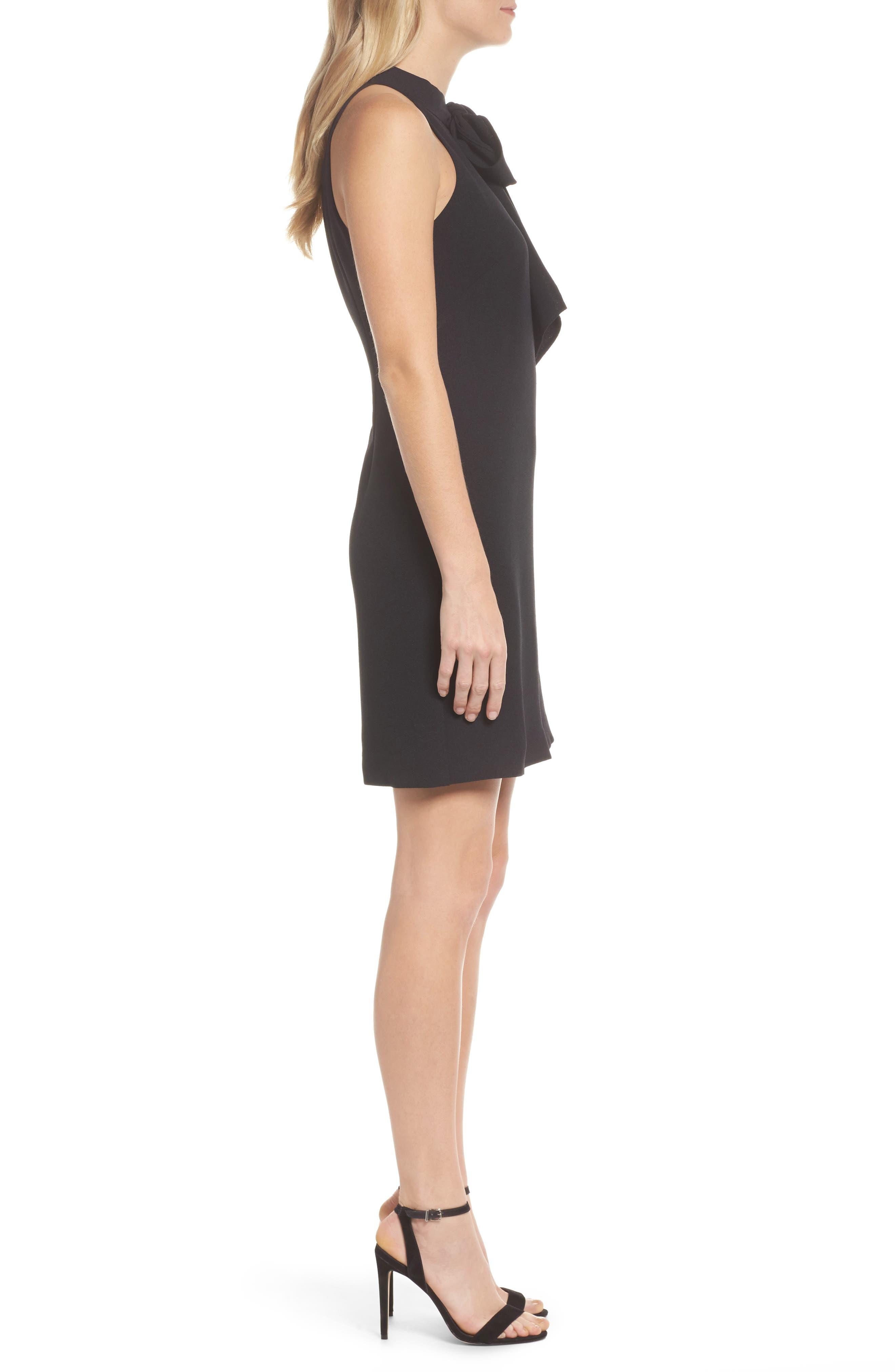 VINCE CAMUTO, Halter Tie Neck A-Line Dress, Alternate thumbnail 4, color, 001