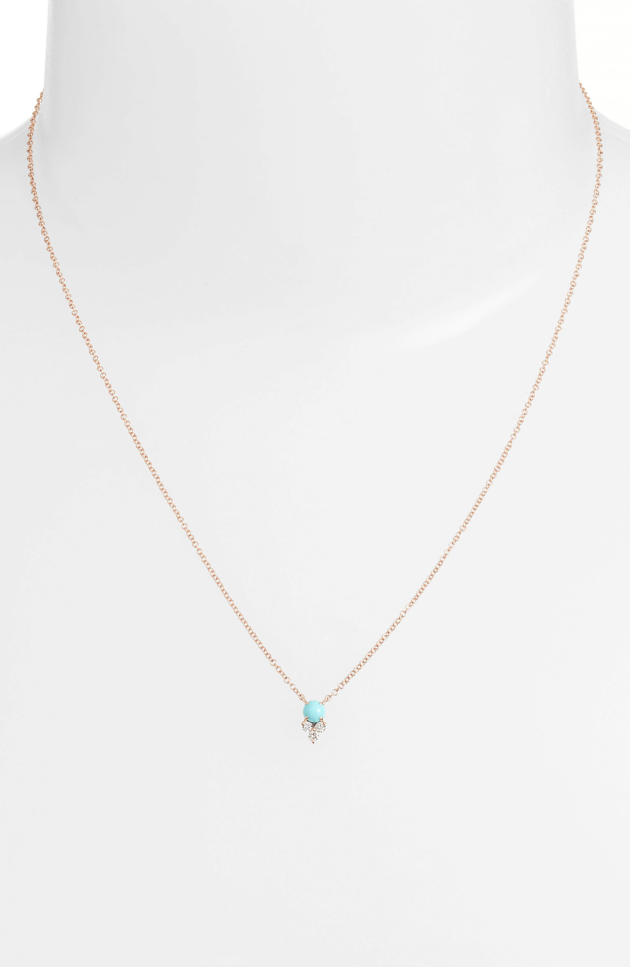 EF COLLECTION, Diamond Trio Stone Pendant Necklace, Alternate thumbnail 2, color, ROSE GOLD/ TURQUOISE
