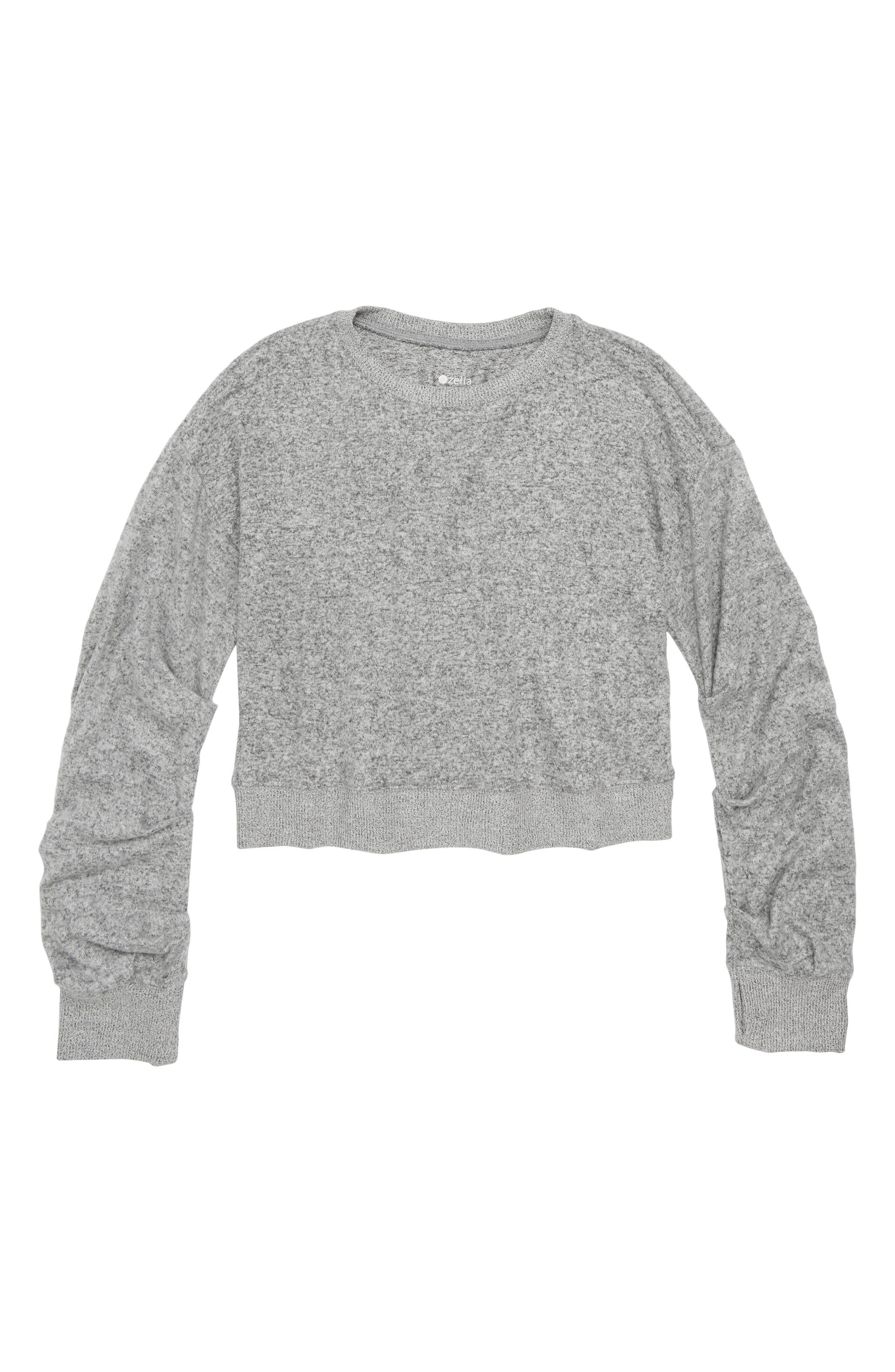ZELLA GIRL, Ruched Pullover, Main thumbnail 1, color, GREY ASH HEATHER