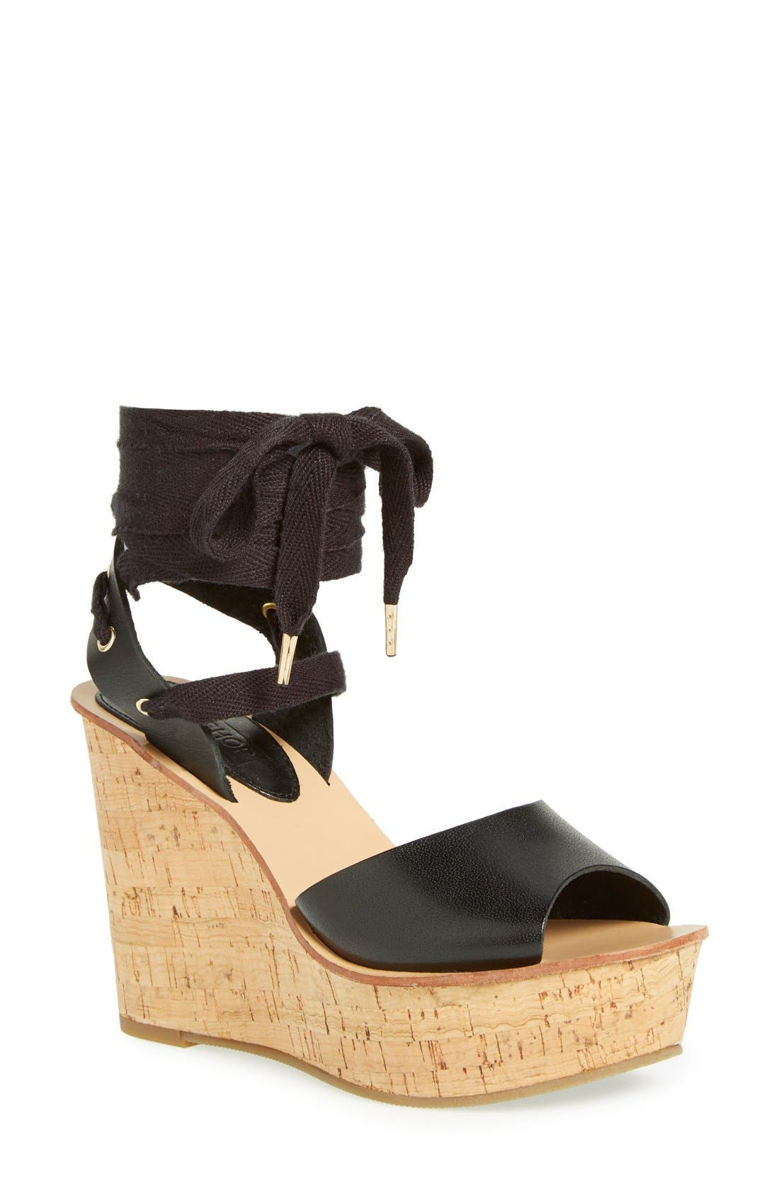 TOPSHOP, 'Wise' Platform Wedge Sandal, Main thumbnail 1, color, 001