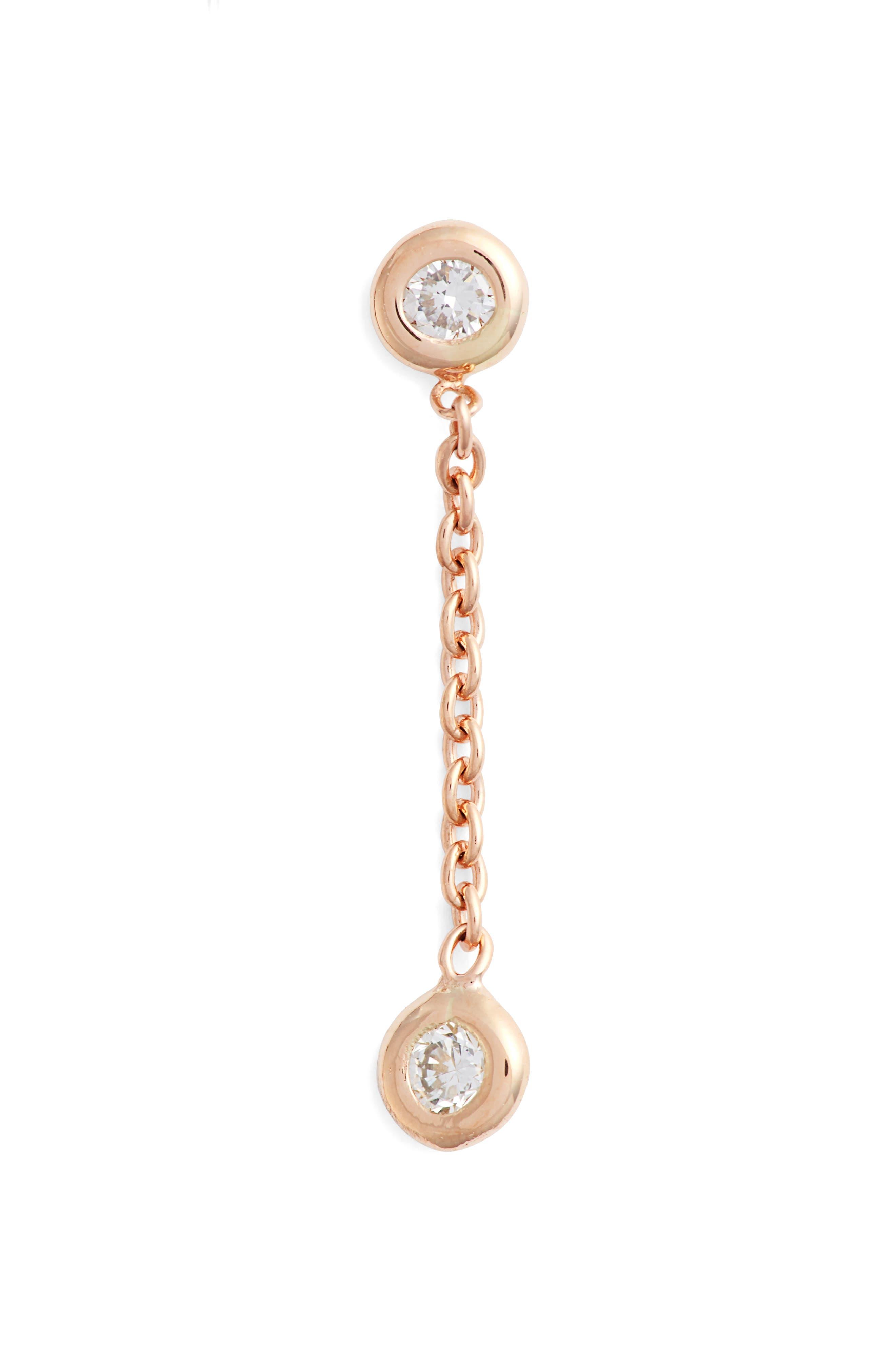 KISMET BY MILKA, Double Diamond Solitaire Chain Earring, Main thumbnail 1, color, ROSE GOLD/ DIAMOND