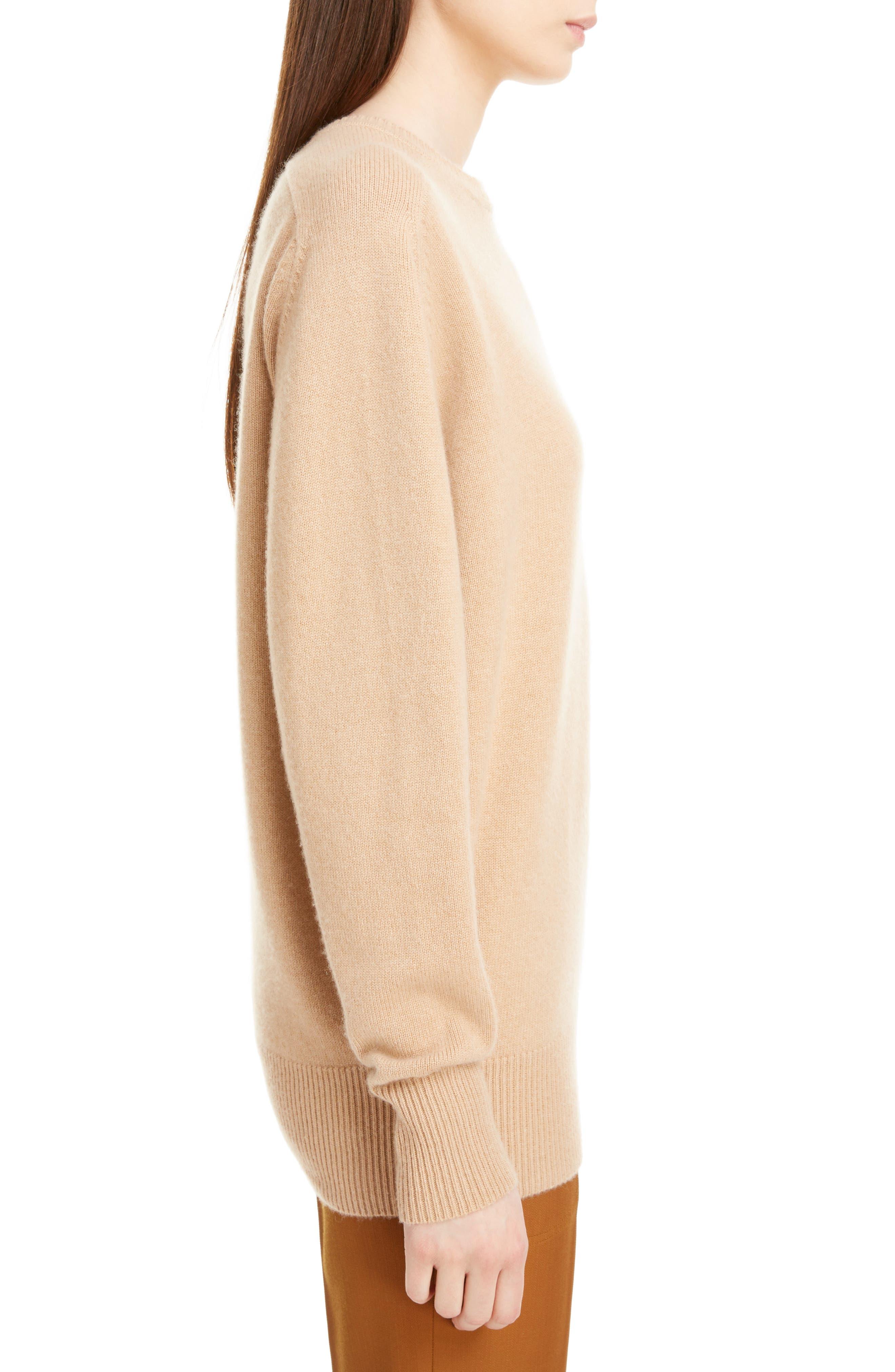 VICTORIA BECKHAM, Cashmere Blend Sweater, Alternate thumbnail 3, color, LIGHT CAMEL