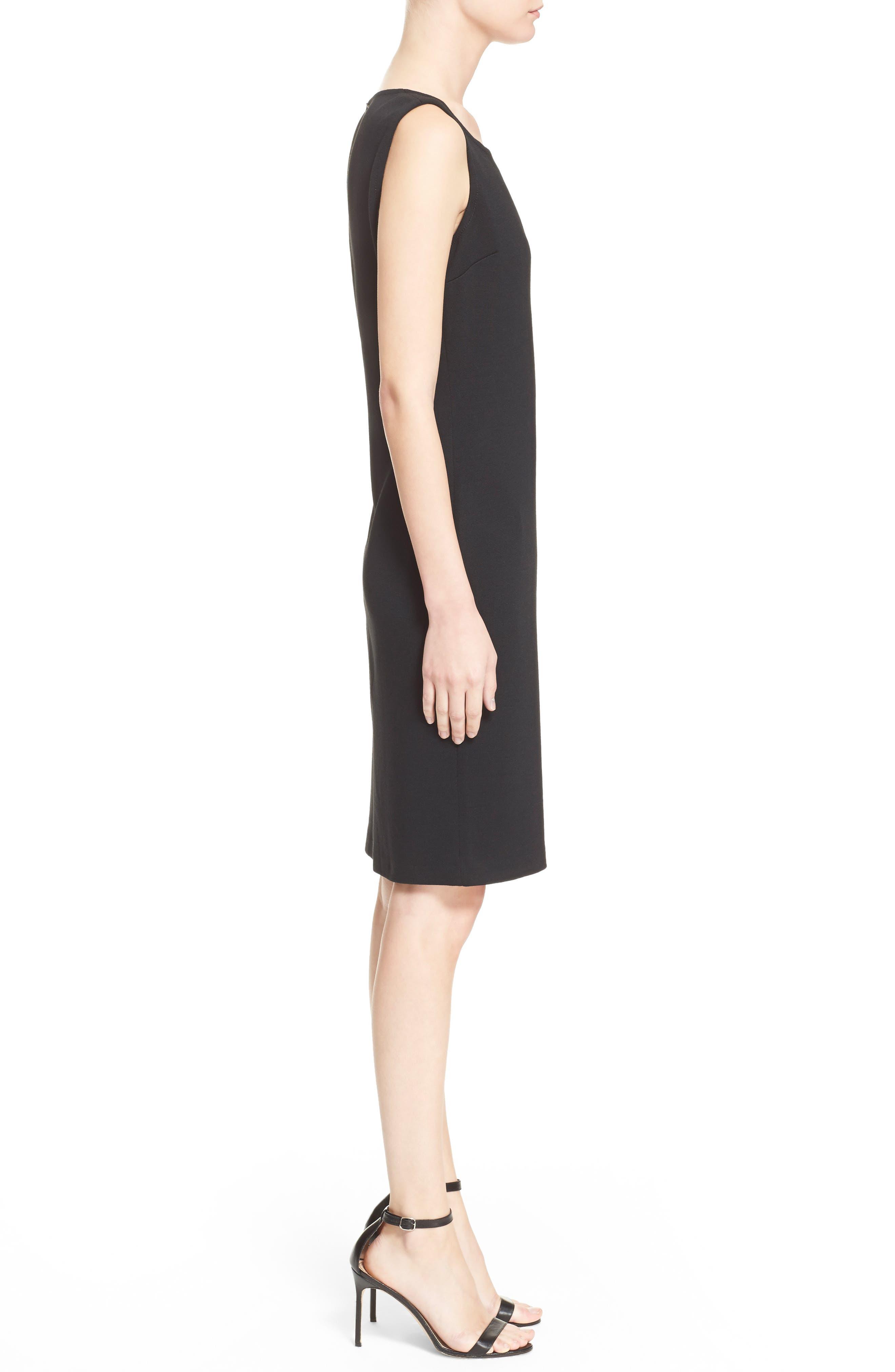 ST. JOHN COLLECTION, Milano Knit Sheath Dress, Alternate thumbnail 4, color, CAVIAR