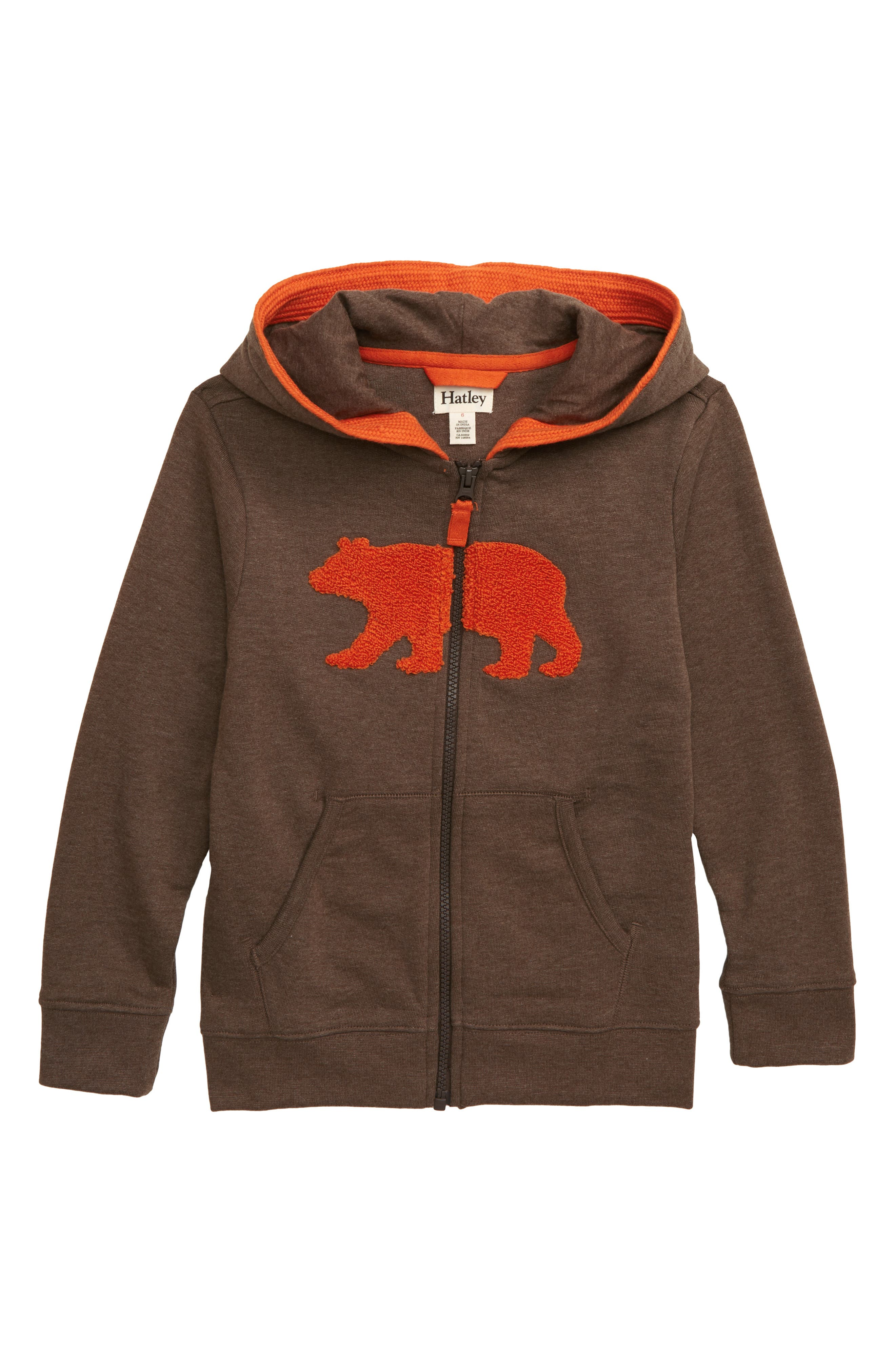 HATLEY, Brown Bear Full Zip Hoodie, Main thumbnail 1, color, BROWN