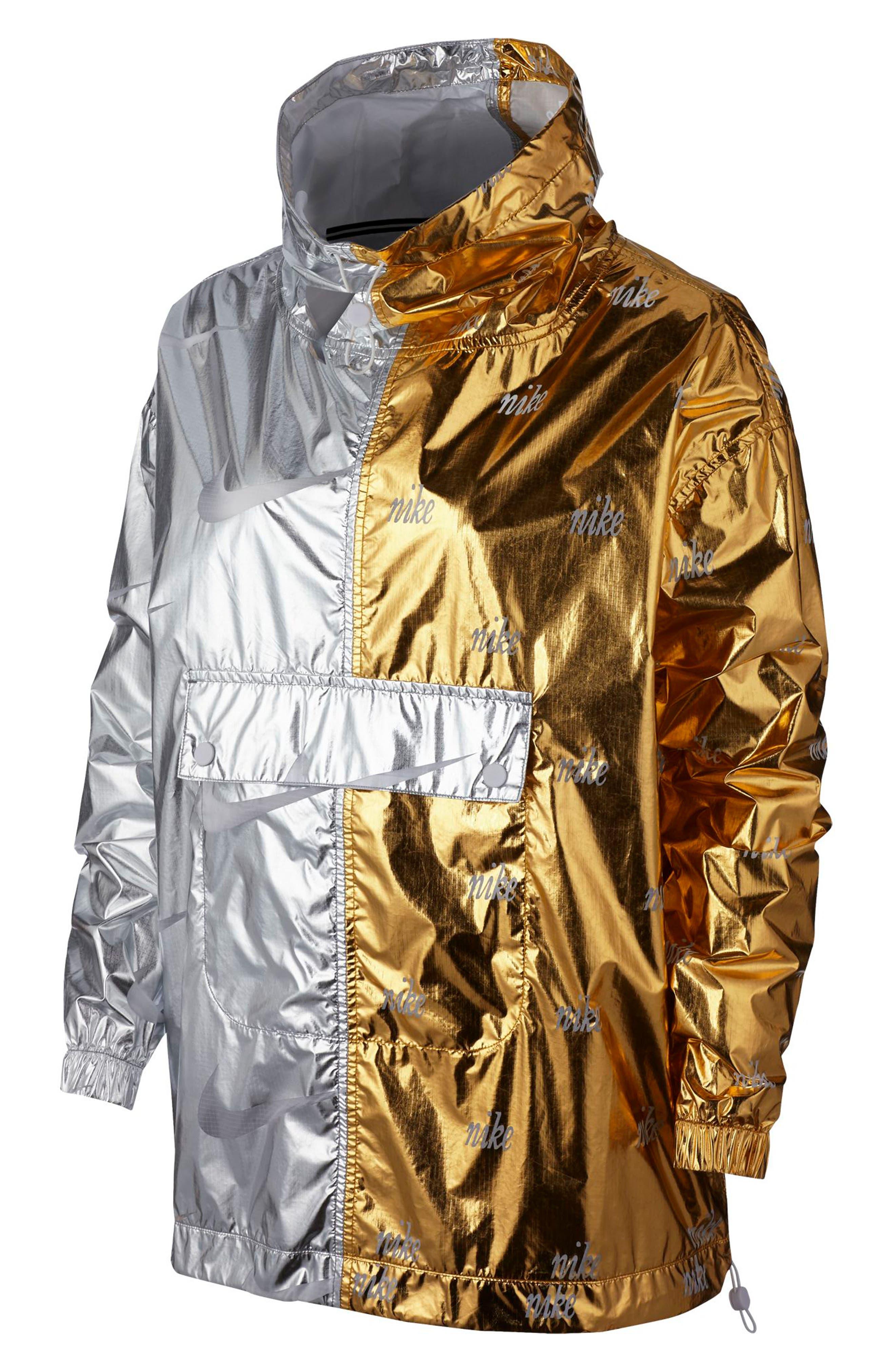 NIKE, Sportswear Women's Metallic Jacket, Alternate thumbnail 2, color, GOLD/ SILVER