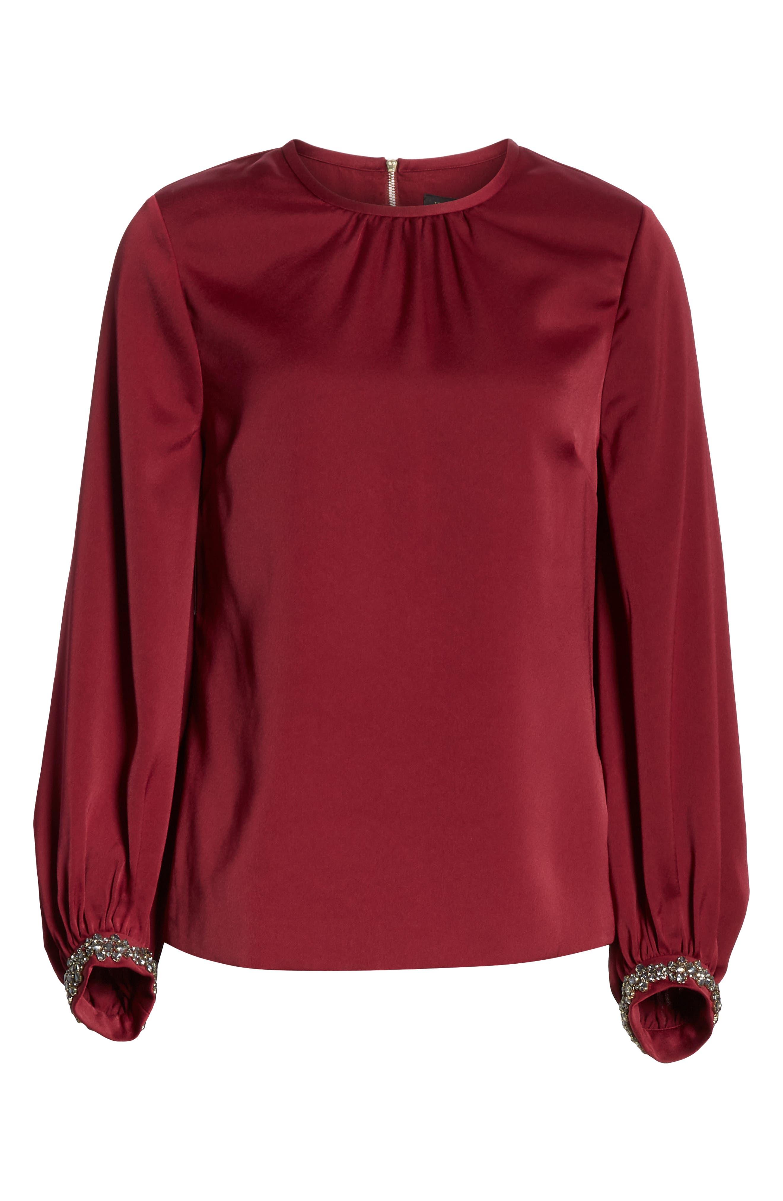 TED BAKER LONDON, Juudy Embellished Sleeve Blouse, Alternate thumbnail 6, color, 930