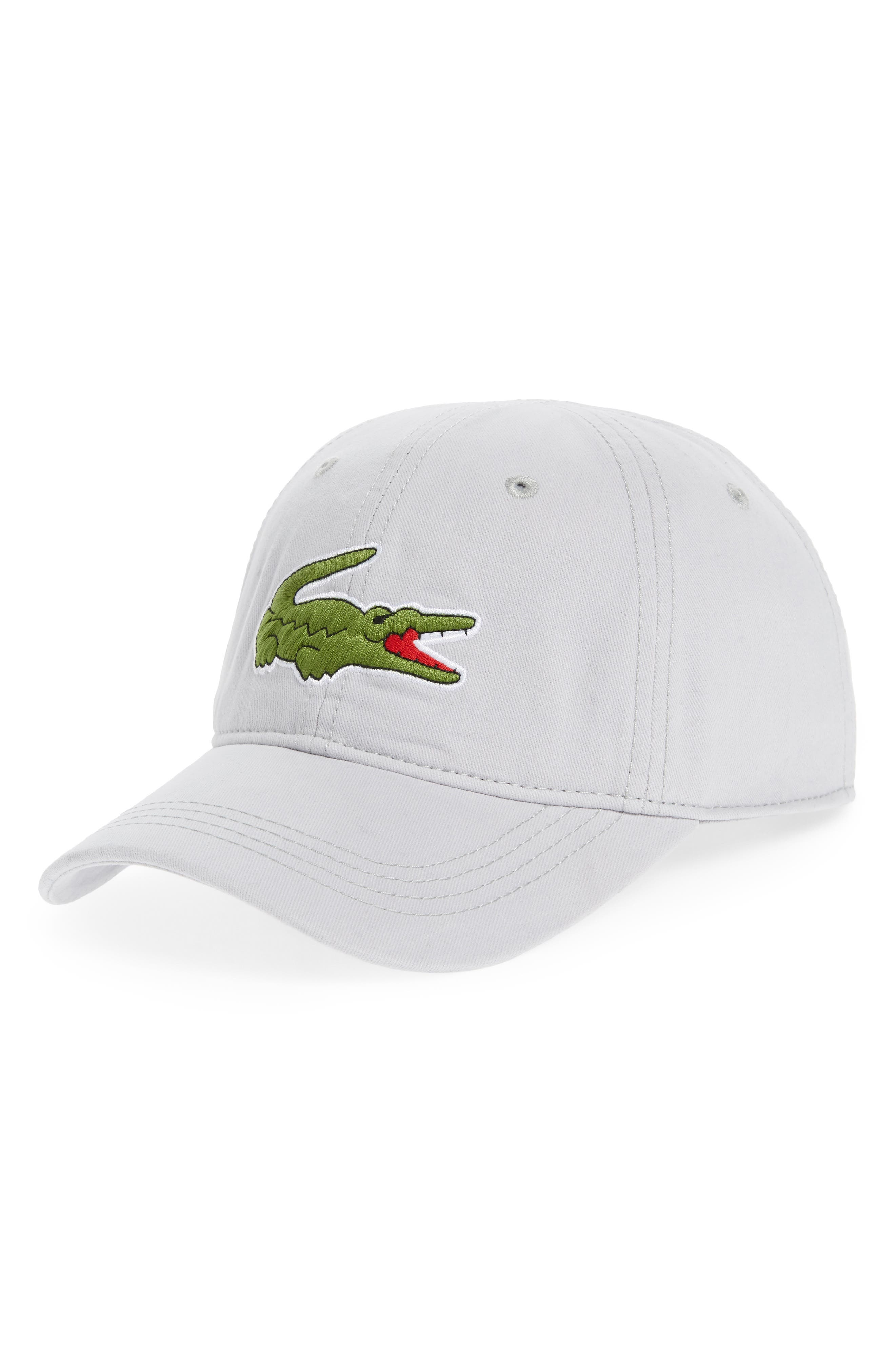 LACOSTE 'Big Croc' Logo Embroidered Cap, Main, color, 020