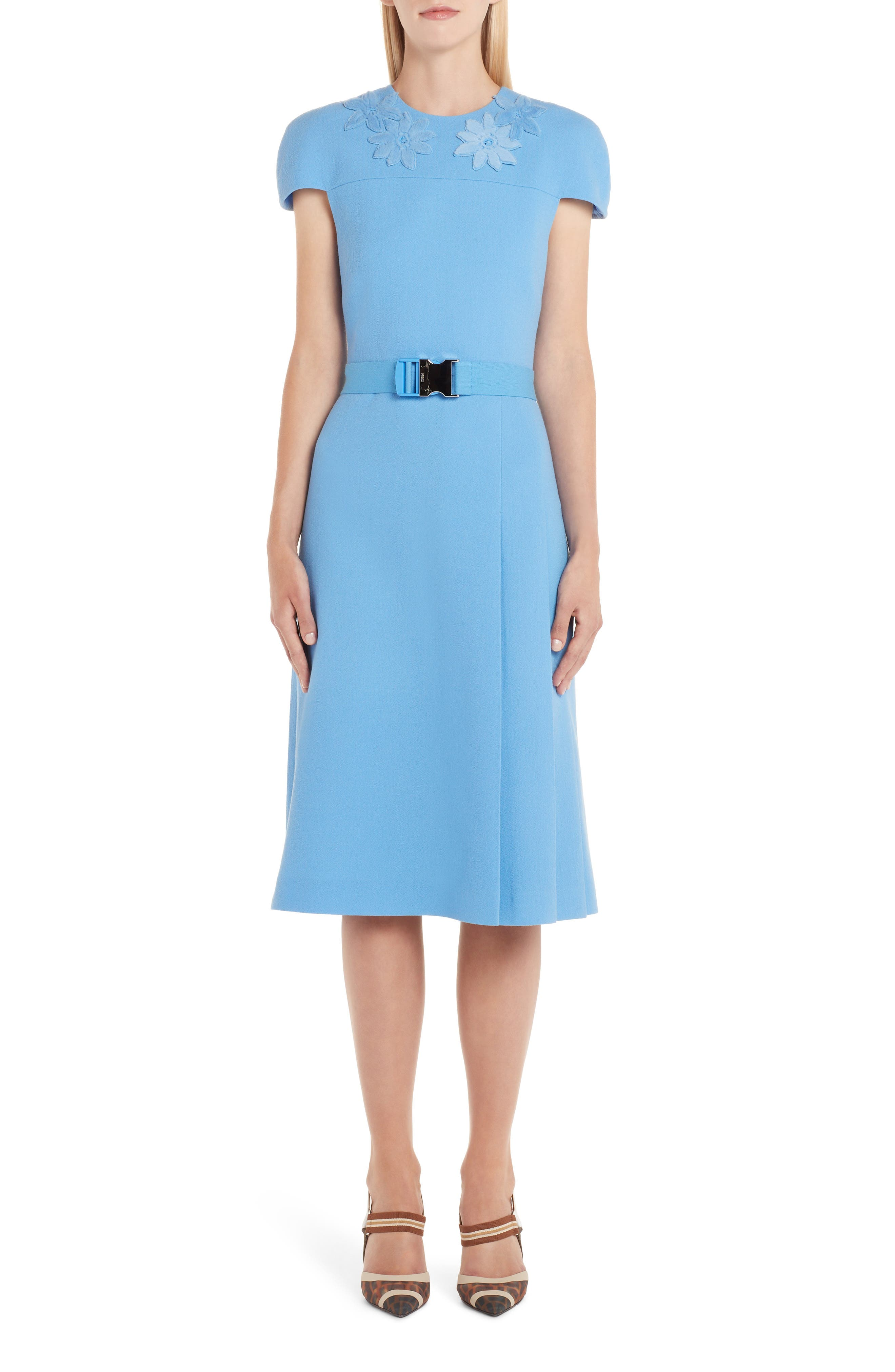 Fendi Genuine Mink Fur Flower Belted Wool Crepe Dress, 50 IT - Blue