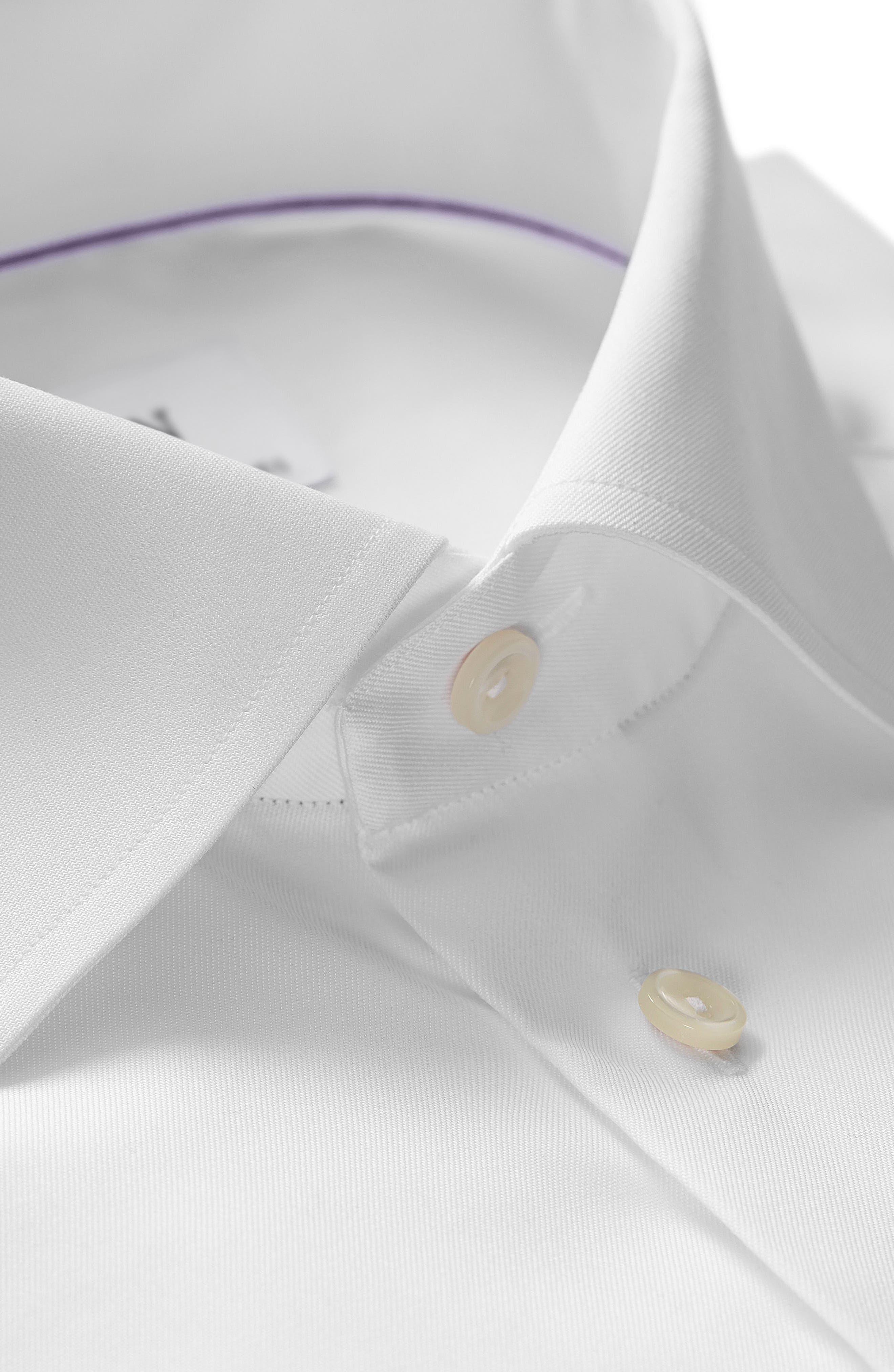 ETON, Slim Fit Twill Dress Shirt, Alternate thumbnail 5, color, WHITE