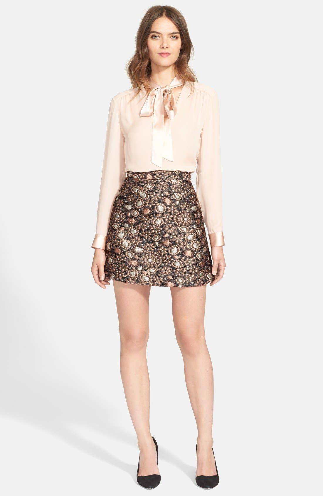 ALICE + OLIVIA, 'Jessa' A-Line Skirt, Alternate thumbnail 4, color, 716
