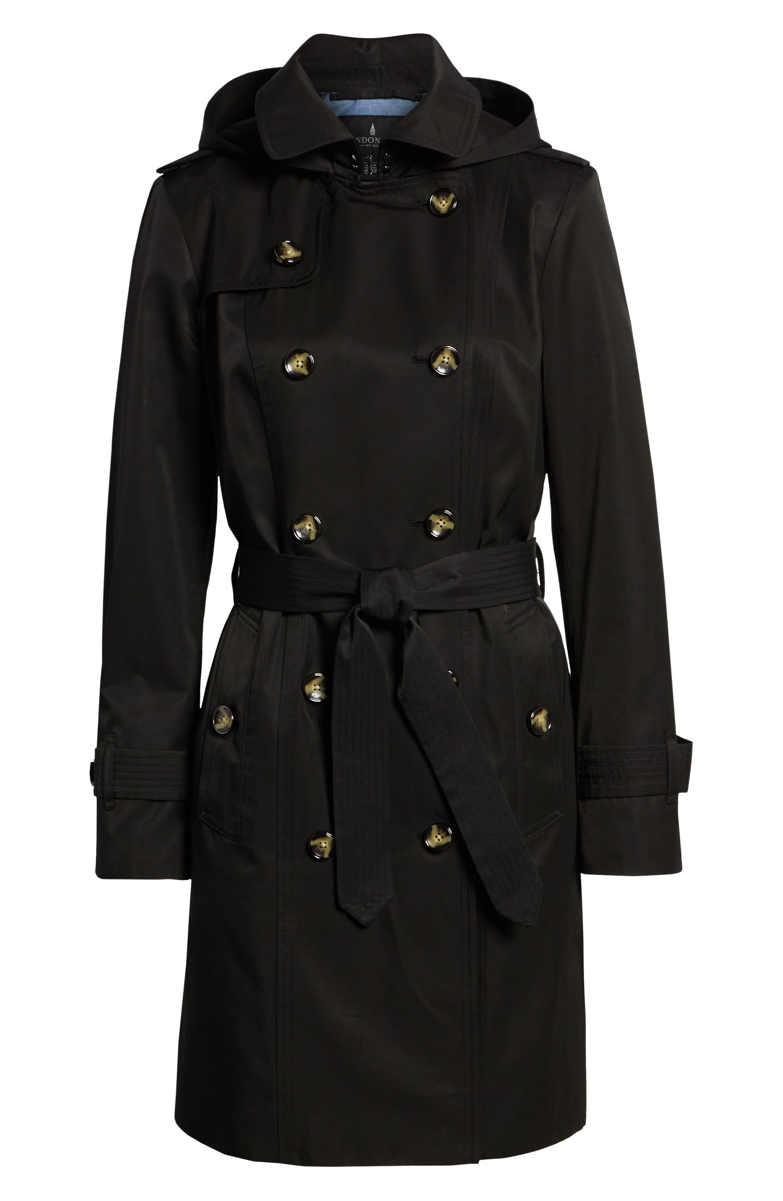 LONDON FOG, Double Breasted Trench Coat, Alternate thumbnail 6, color, BLACK