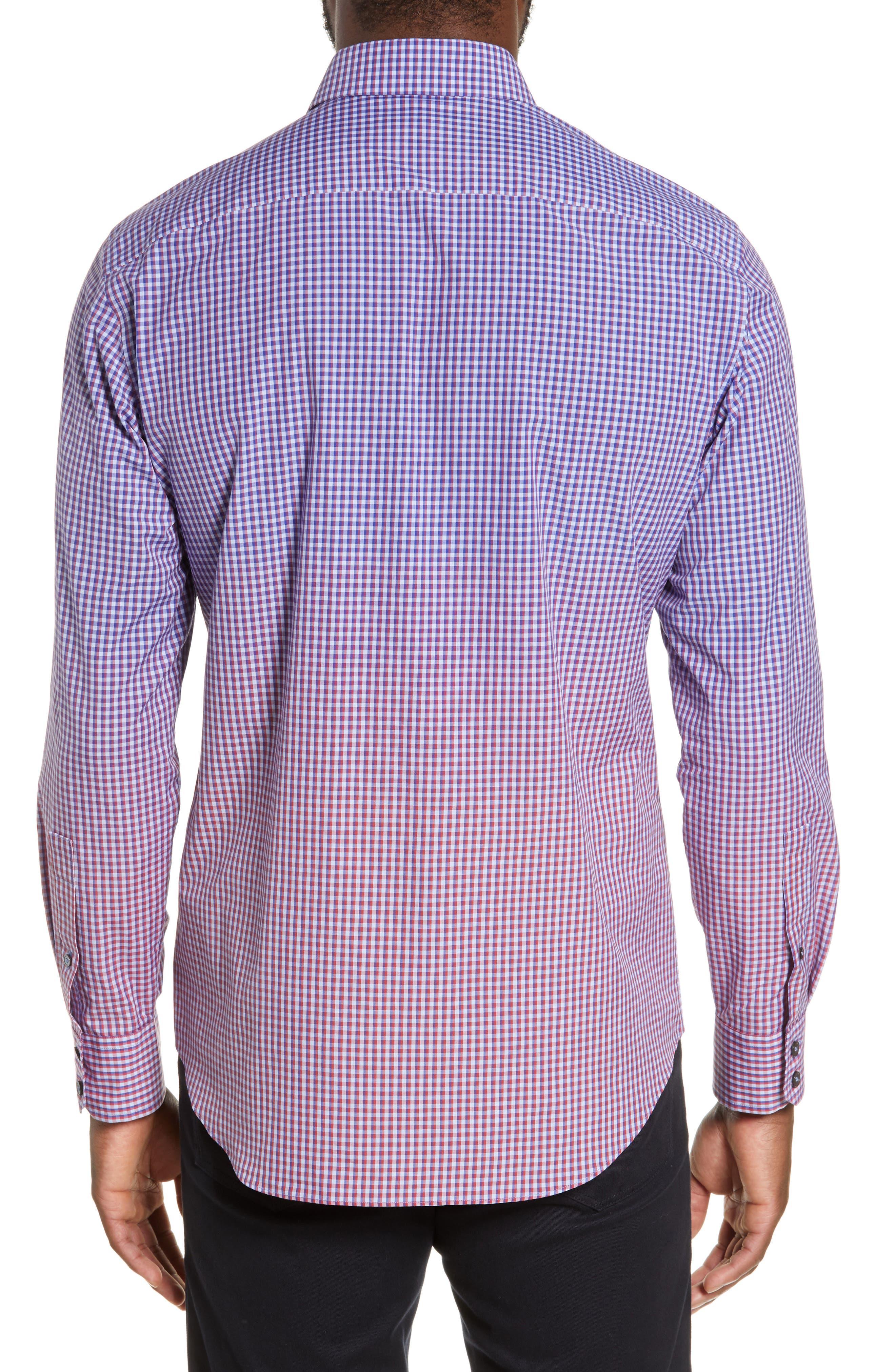 ZACHARY PRELL, Germain Regular Fit Gradient Check Sport Shirt, Alternate thumbnail 3, color, RED