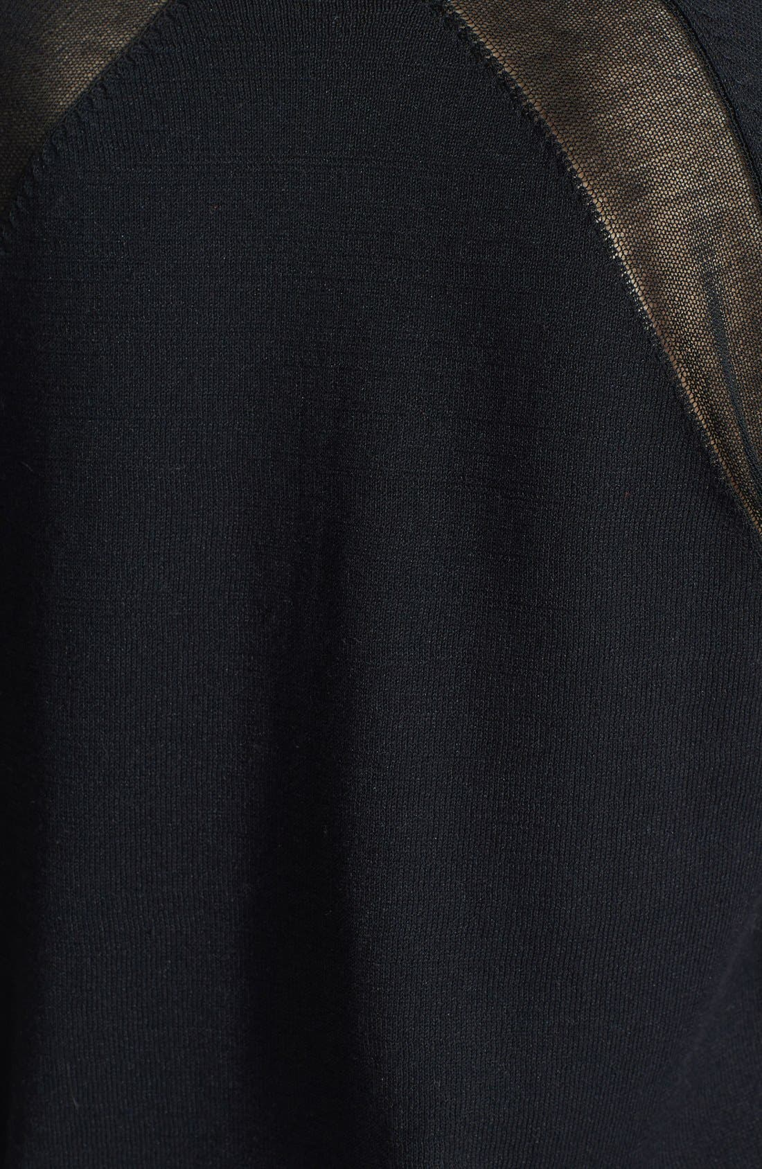 HALOGEN<SUP>®</SUP>, Semi-Sheer Inset Sweater, Alternate thumbnail 2, color, 001