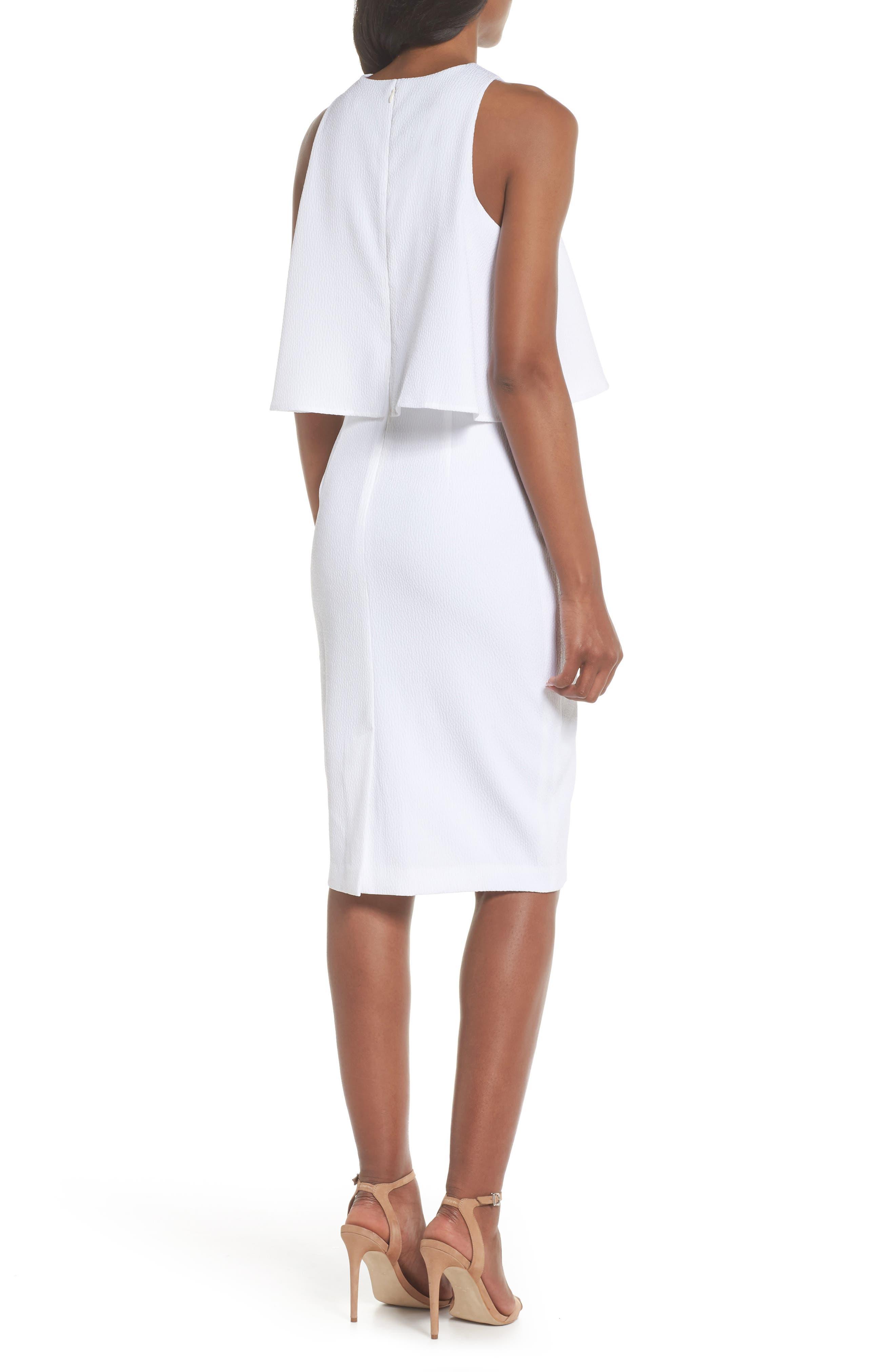 CHELSEA28, Popover Crop Sheath Dress, Alternate thumbnail 2, color, WHITE SNOW