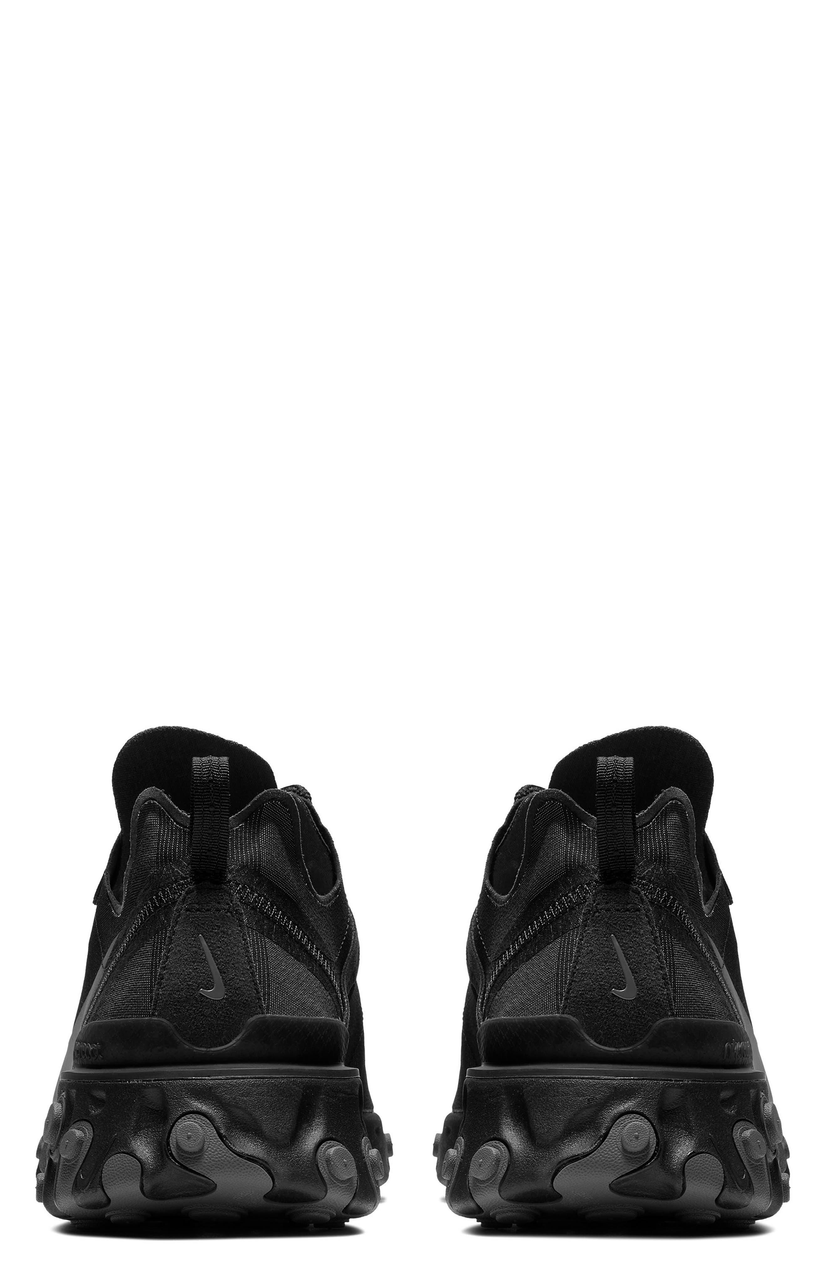 NIKE, React Element 55 Sneaker, Alternate thumbnail 2, color, BLACK/ DARK GREY