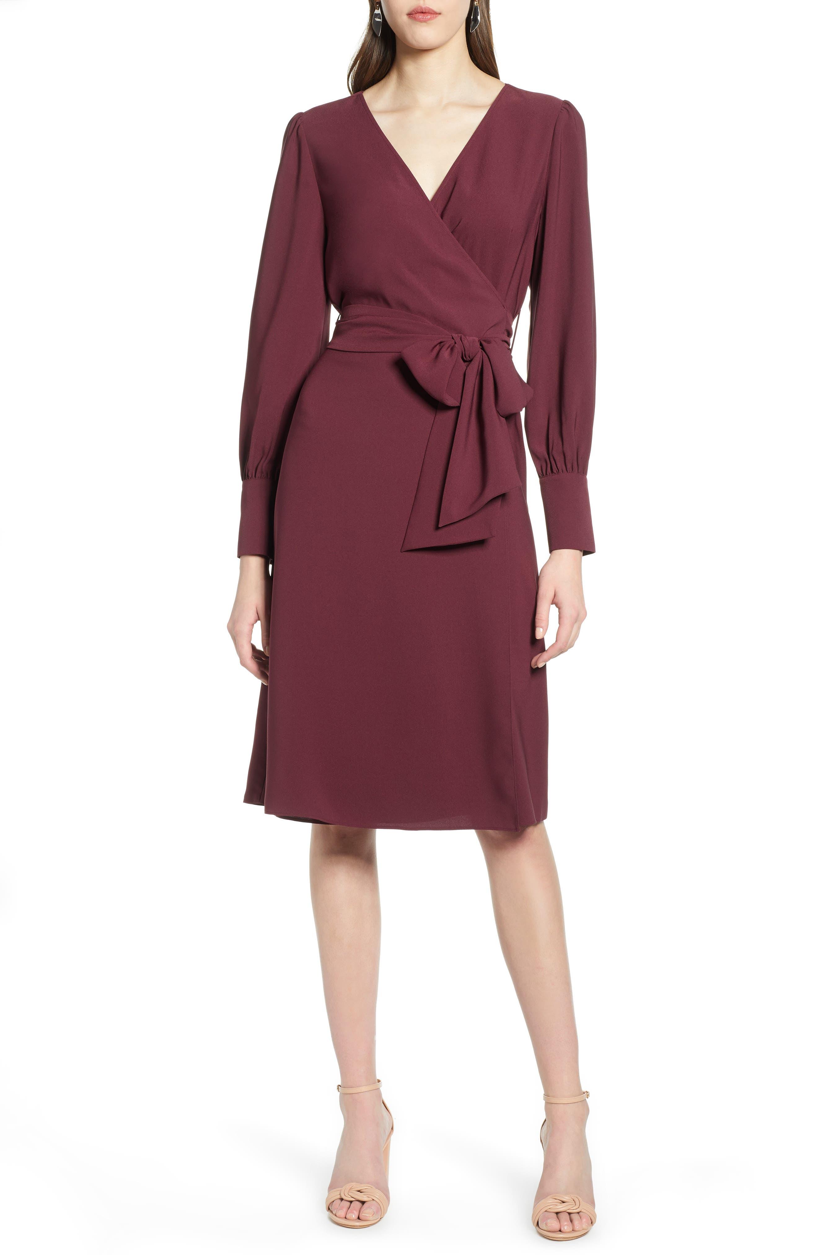 Petite Halogen Wrap Dress, Burgundy