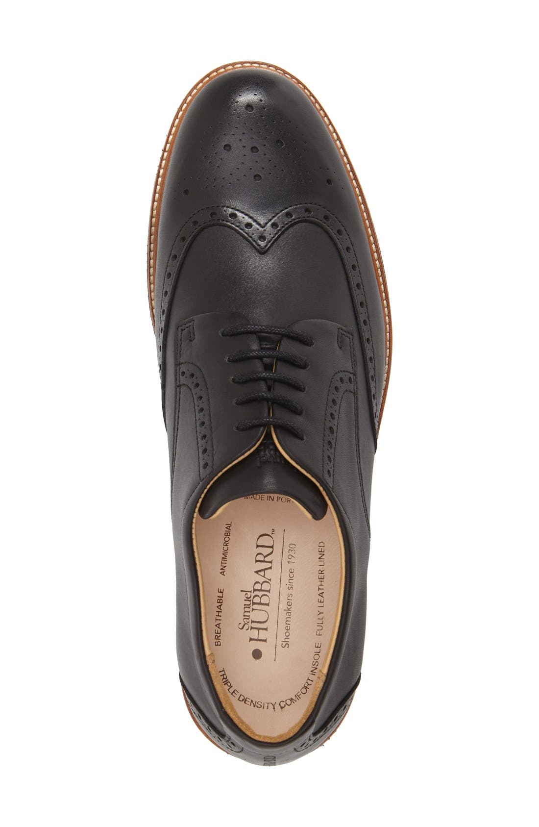 SAMUEL HUBBARD, 'Tipping Point' Wingtip Oxford, Alternate thumbnail 2, color, BLACK