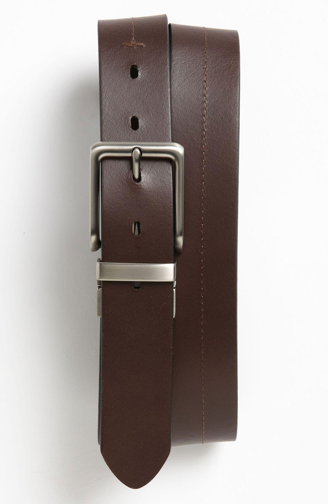 FOSSIL, 'Brandon' Twist Reversible Leather Belt, Alternate thumbnail 2, color, BLACK/ BROWN