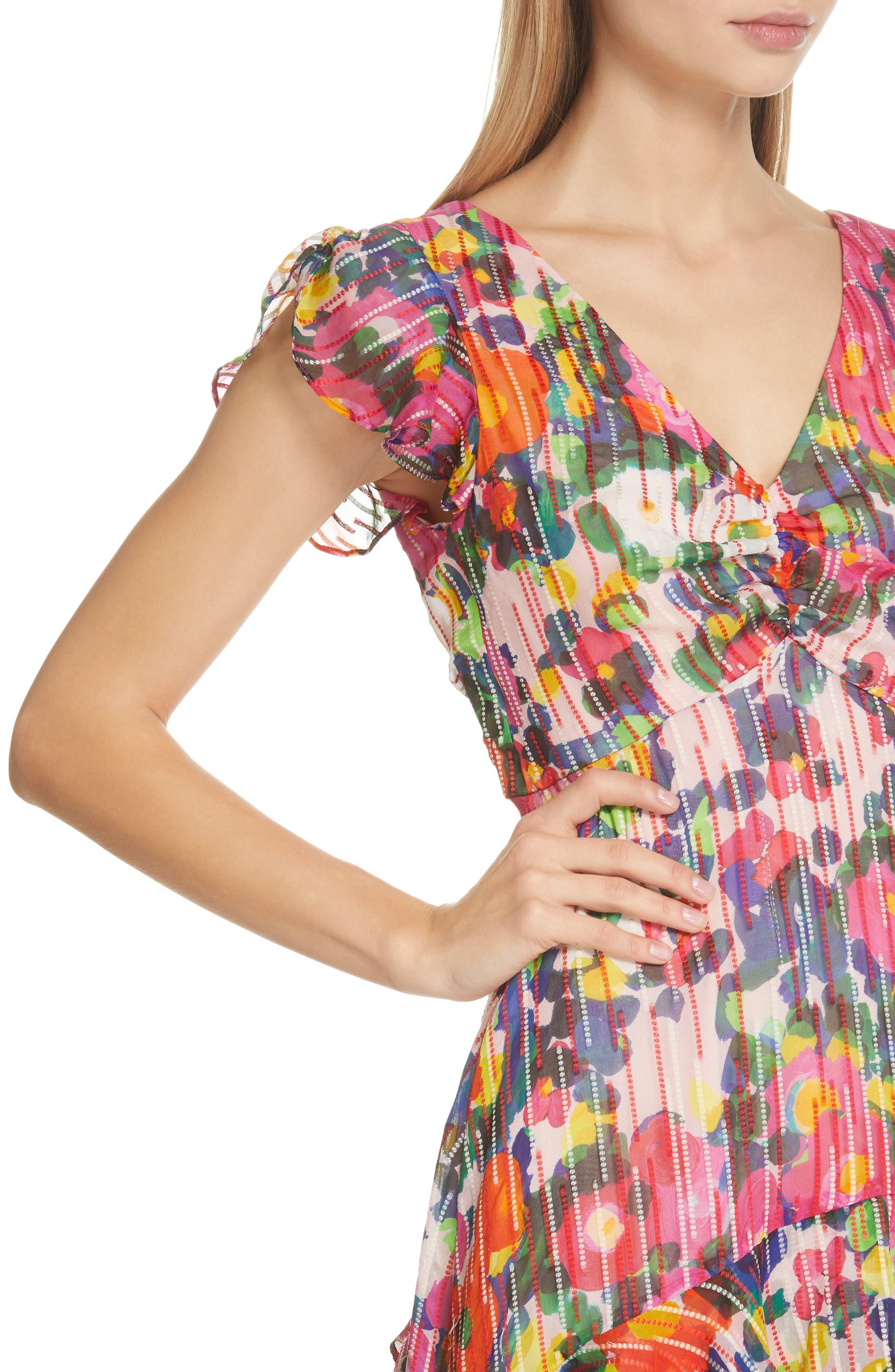 SALONI, Catia Floral Print Silk Blend Minidress, Alternate thumbnail 5, color, PINK ROSETTE