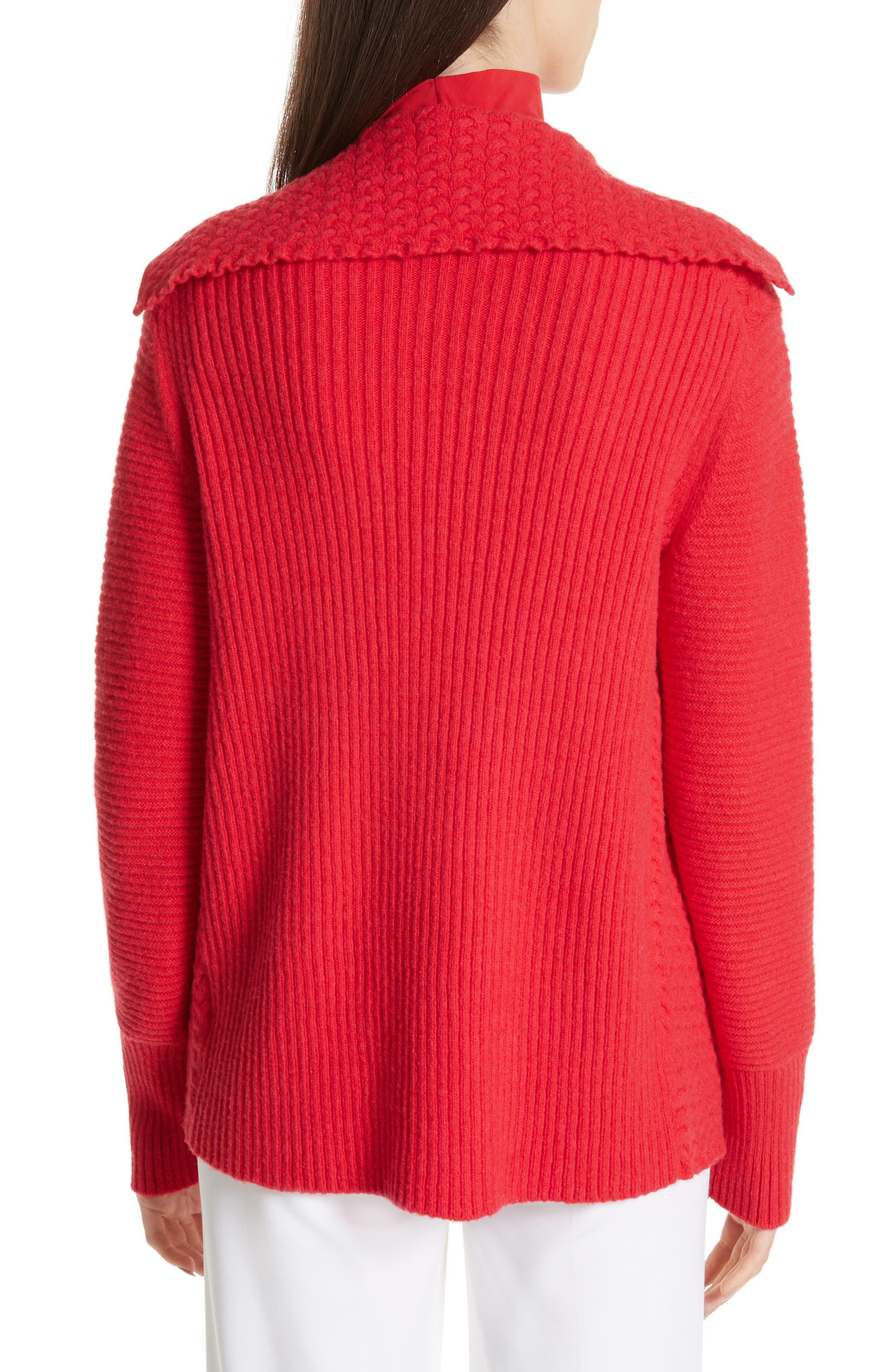 ST. JOHN COLLECTION, Cable Knit Cardigan, Alternate thumbnail 2, color, CRIMSON