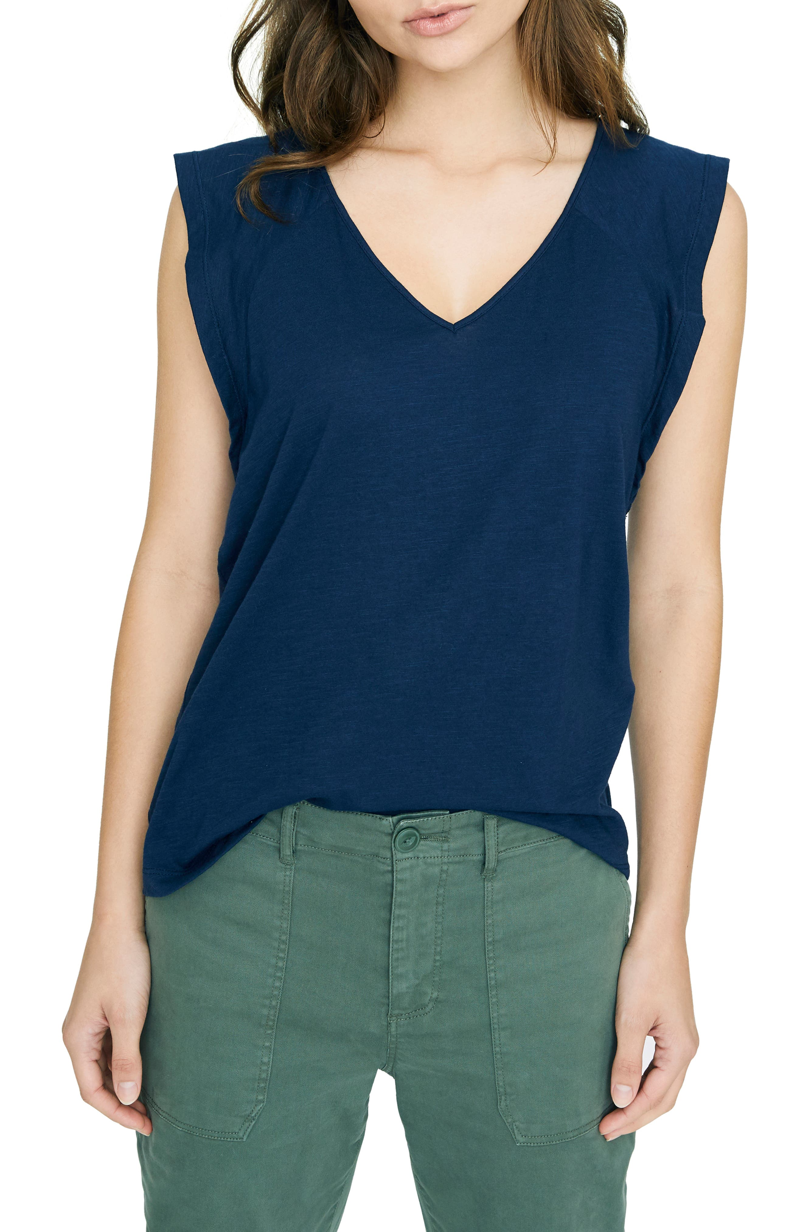 SANCTUARY, Lily Flutter Sleeve Tee, Main thumbnail 1, color, NAVY BLOOM
