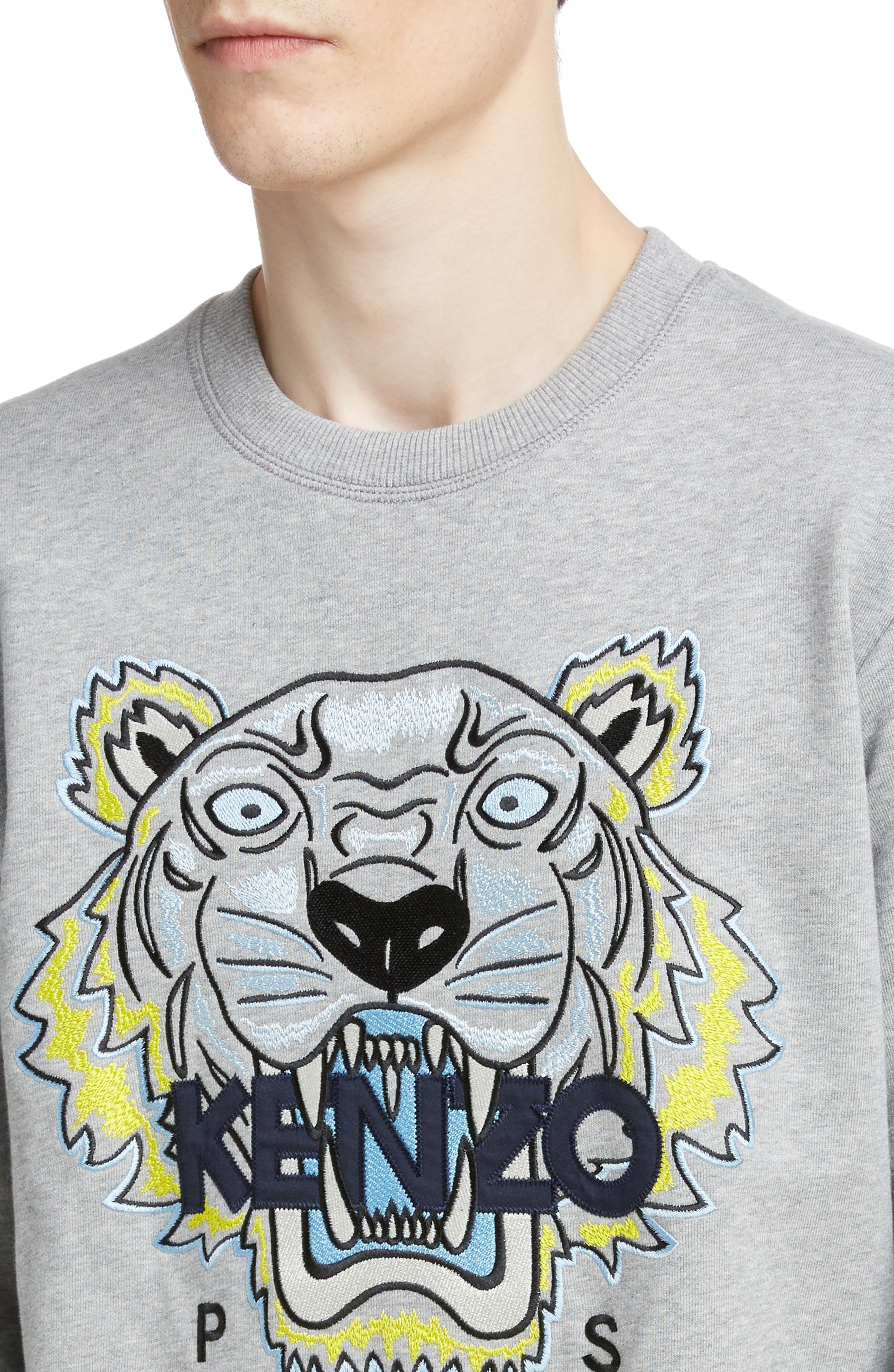 KENZO, Tiger Sweatshirt, Alternate thumbnail 4, color, PEARL GREY