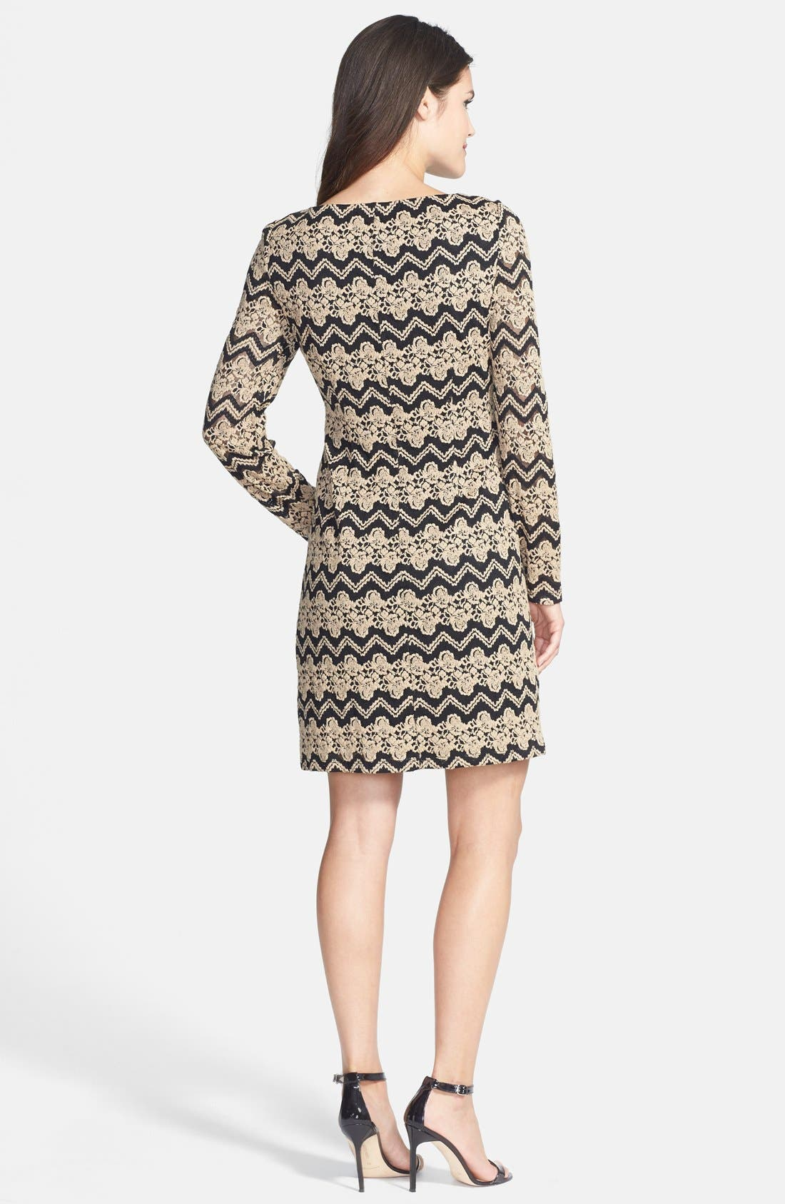 ELIZA J, Chevron Lace Shift Dress, Alternate thumbnail 3, color, 001