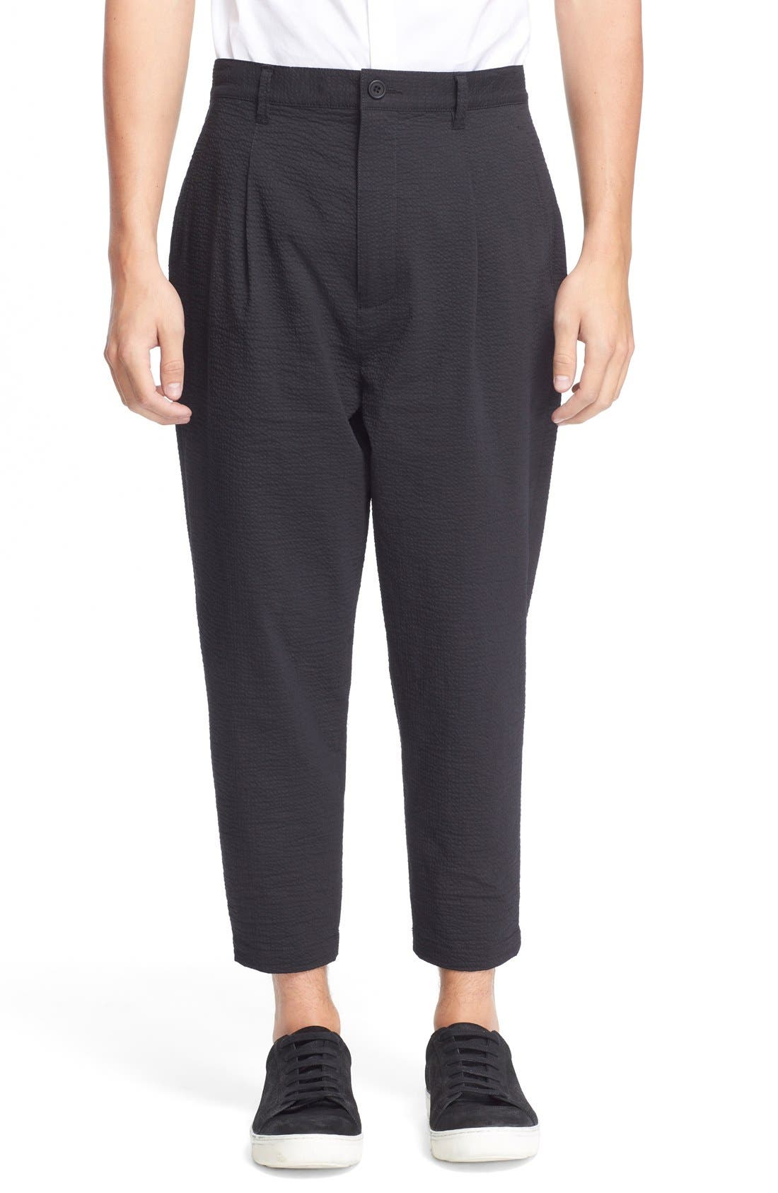 HELMUT LANG Seersucker Trousers, Main, color, 001
