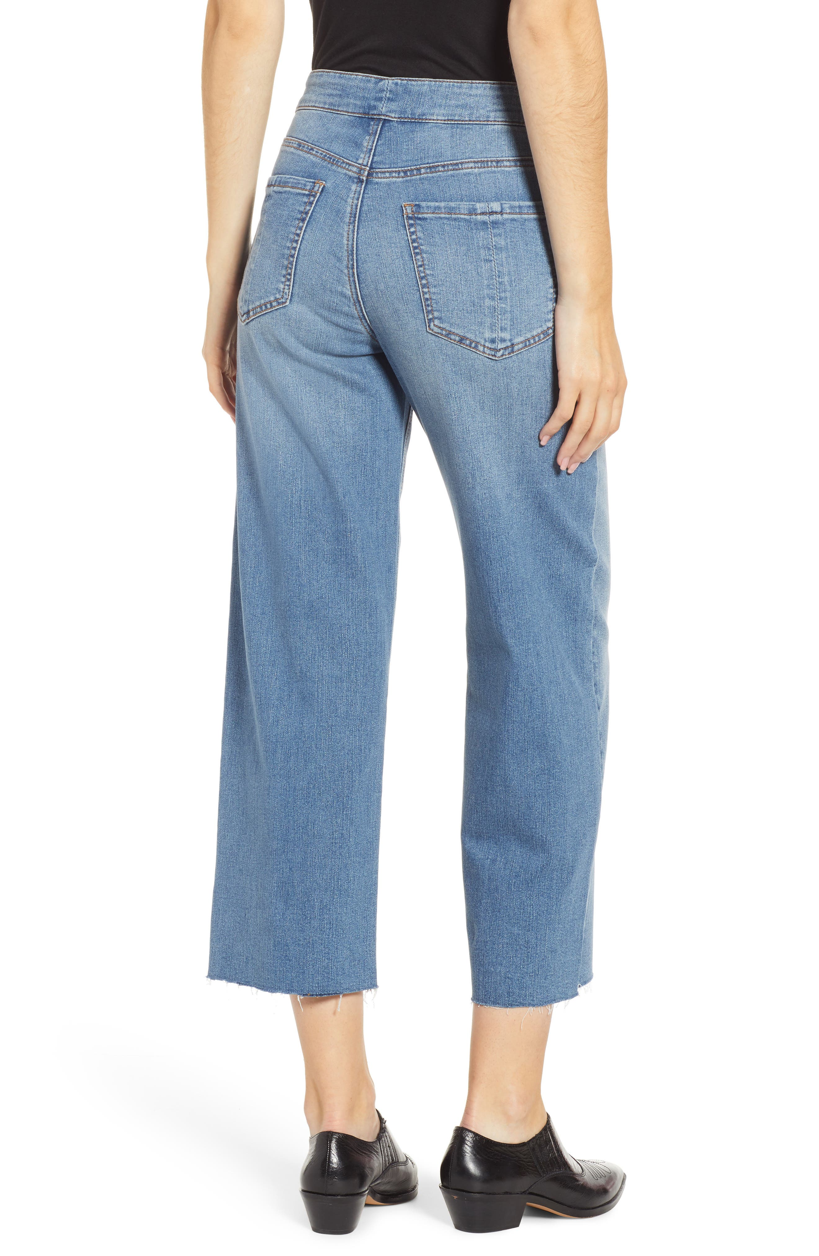 PROSPERITY DENIM, Belted Crop Wide Leg Jeans, Alternate thumbnail 2, color, PRETTY WASH