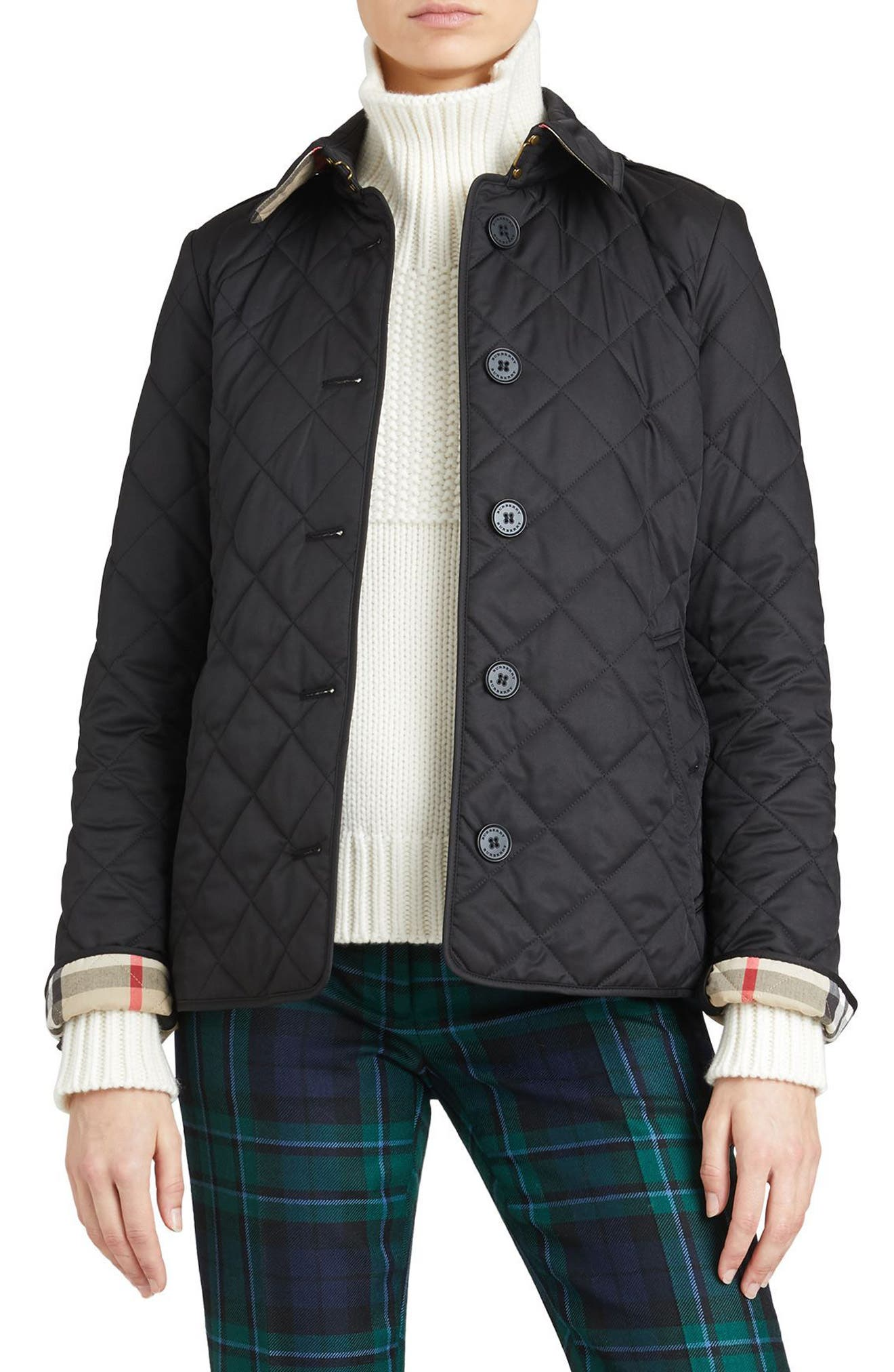 BURBERRY, Frankby Quilted Jacket, Main thumbnail 1, color, 001
