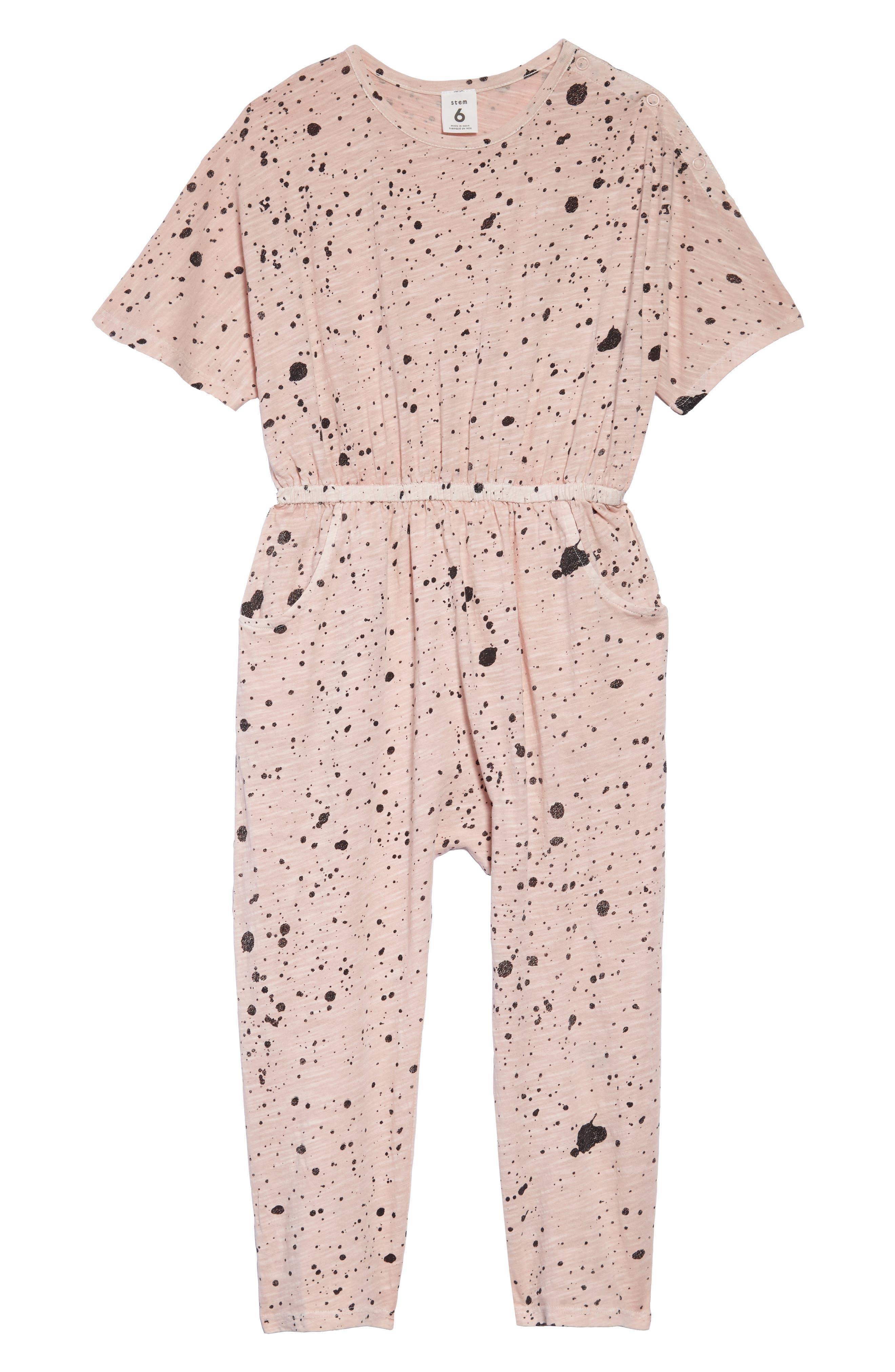 STEM Print Knit Jumpsuit, Main, color, PINK SMOKE PAINT SPLATTER