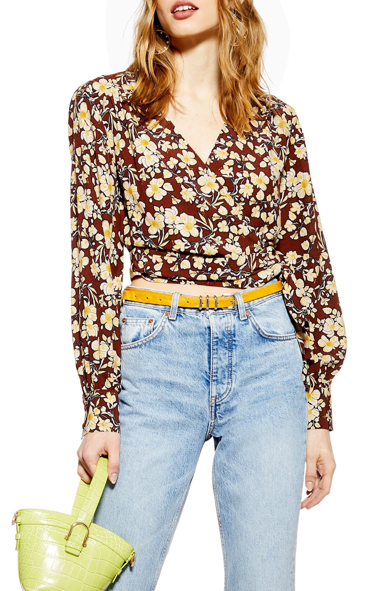 TOPSHOP, Floral Wrap Crop Blouse, Alternate thumbnail 3, color, BROWN MULTI