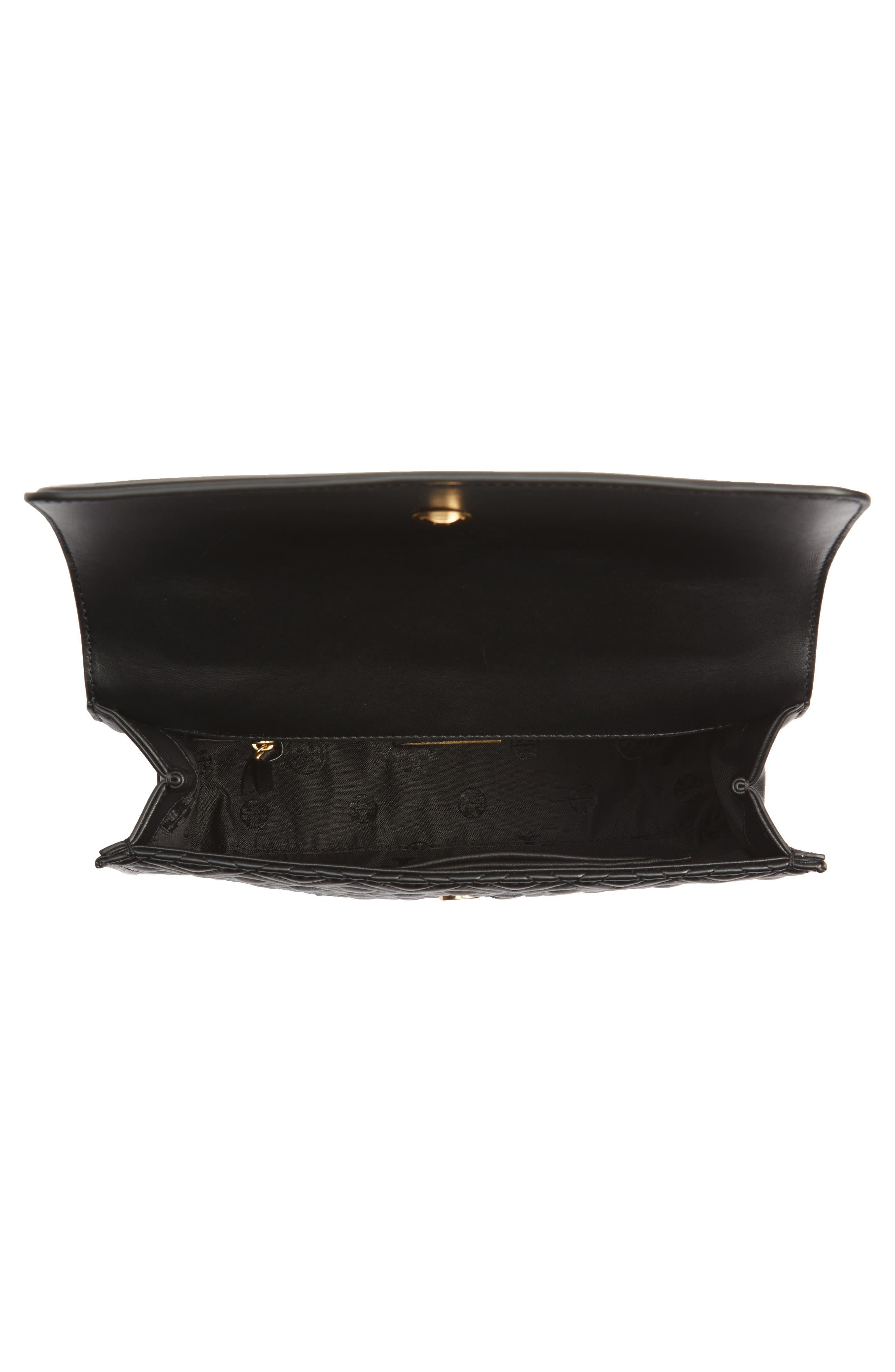 TORY BURCH, Fleming Leather Convertible Shoulder Bag, Alternate thumbnail 5, color, BLACK