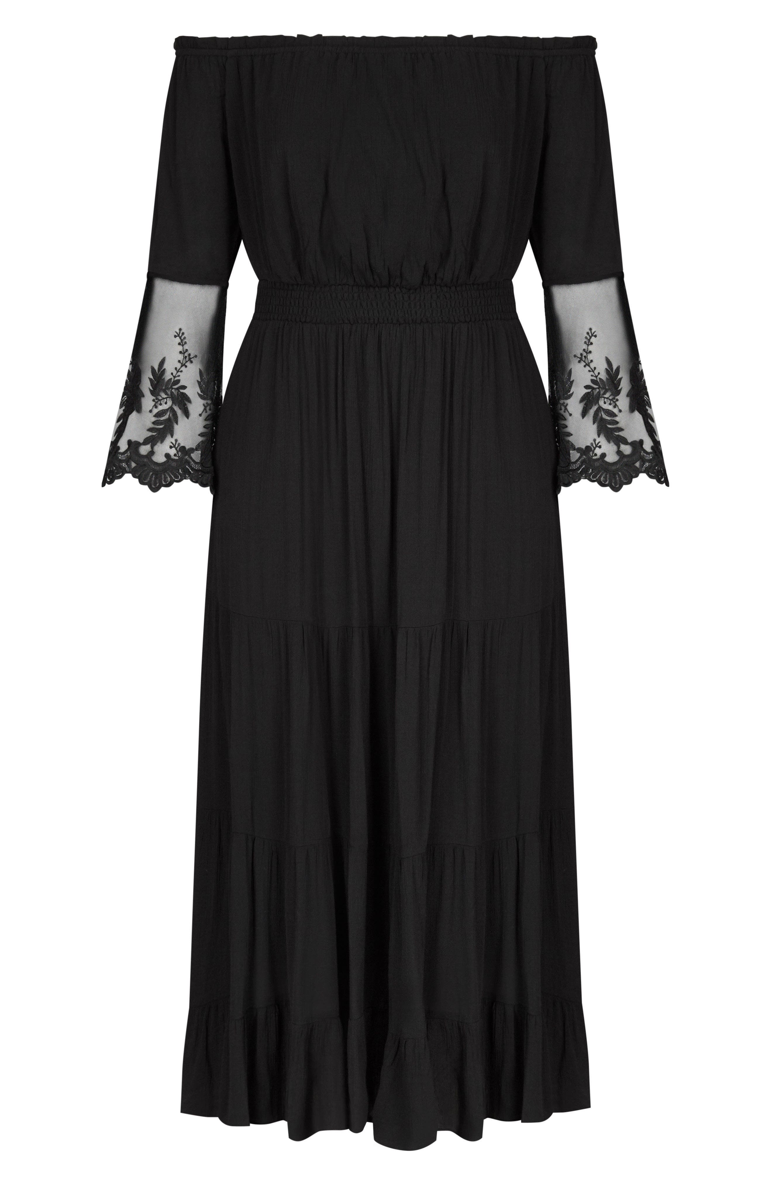 CITY CHIC, Ethereal Maxi Dress, Alternate thumbnail 3, color, BLACK