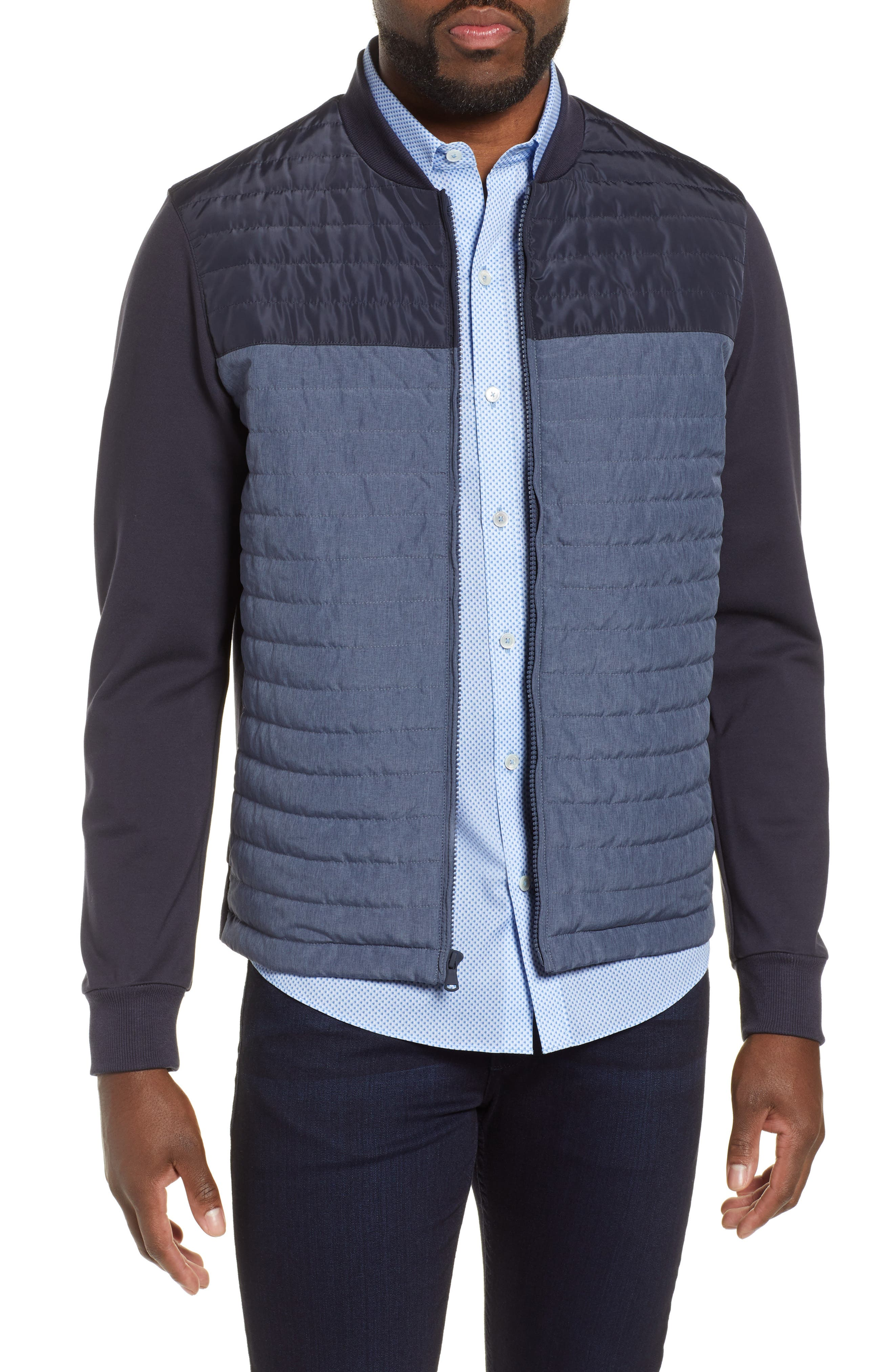 ZACHARY PRELL, Montauk Quilted Bomber Jacket, Main thumbnail 1, color, NAVY