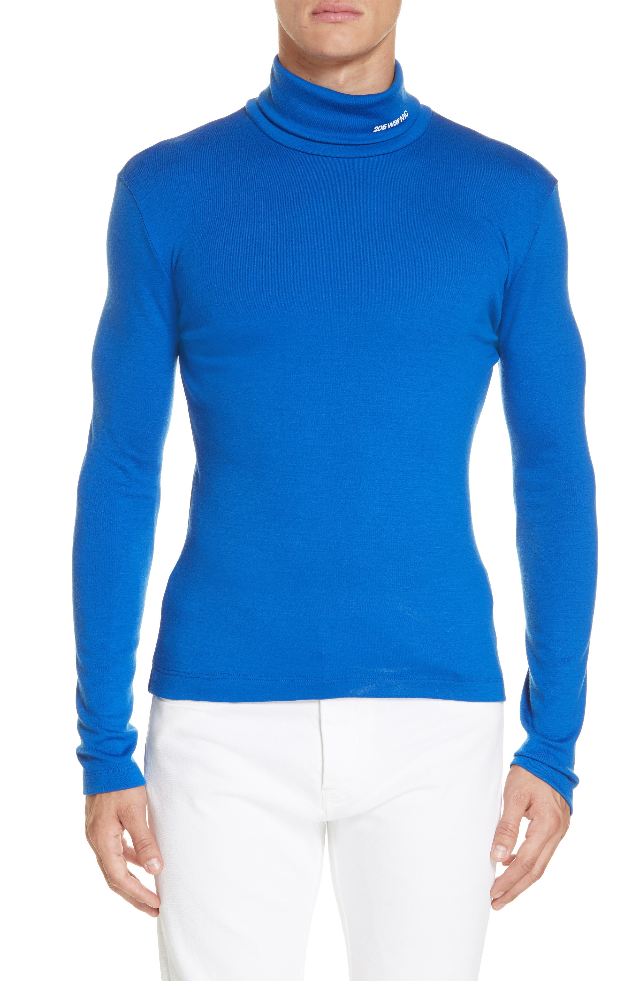 CALVIN KLEIN 205W39NYC, Wool Jersey Turtleneck, Main thumbnail 1, color, BRIGHT BLUE