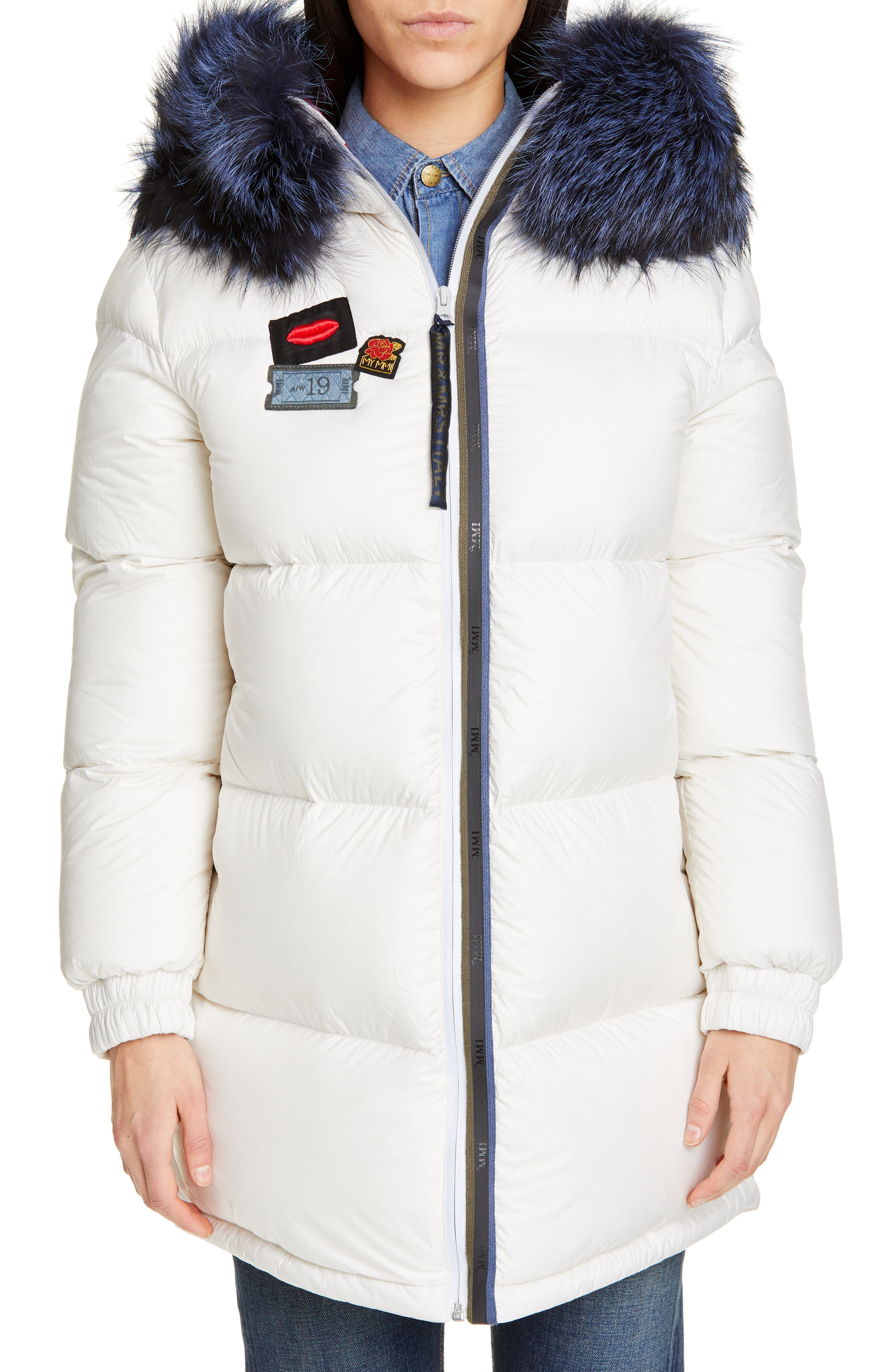 MR & MRS ITALY, Reversible Waterproof Down Parka with Removable Genuine Fox Fur Trim, Main thumbnail 1, color, WHITE / RED