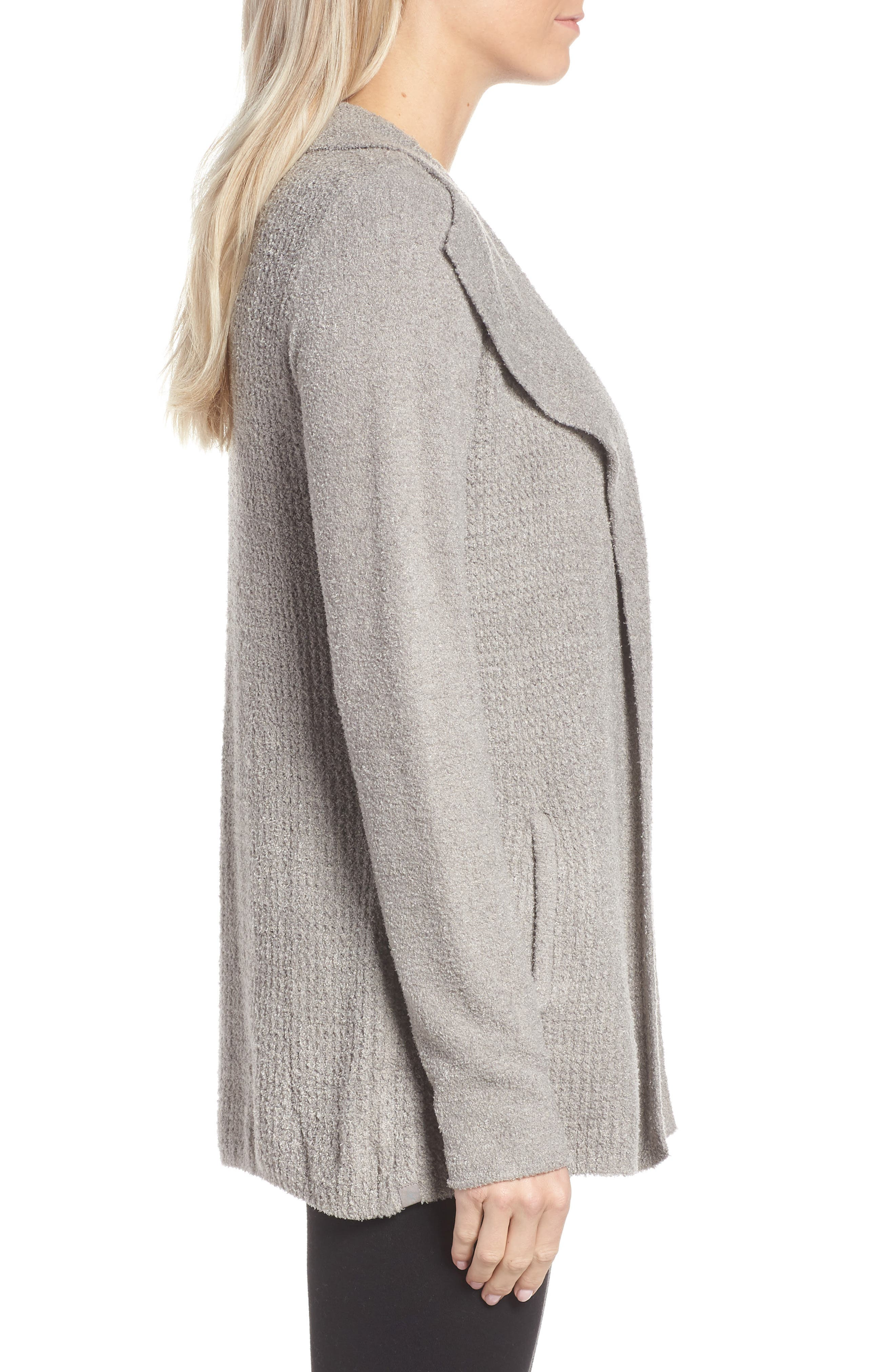 BAREFOOT DREAMS<SUP>®</SUP>, Cozychic<sup>®</sup> Lite Coastal Cardigan, Alternate thumbnail 3, color, PEWTER