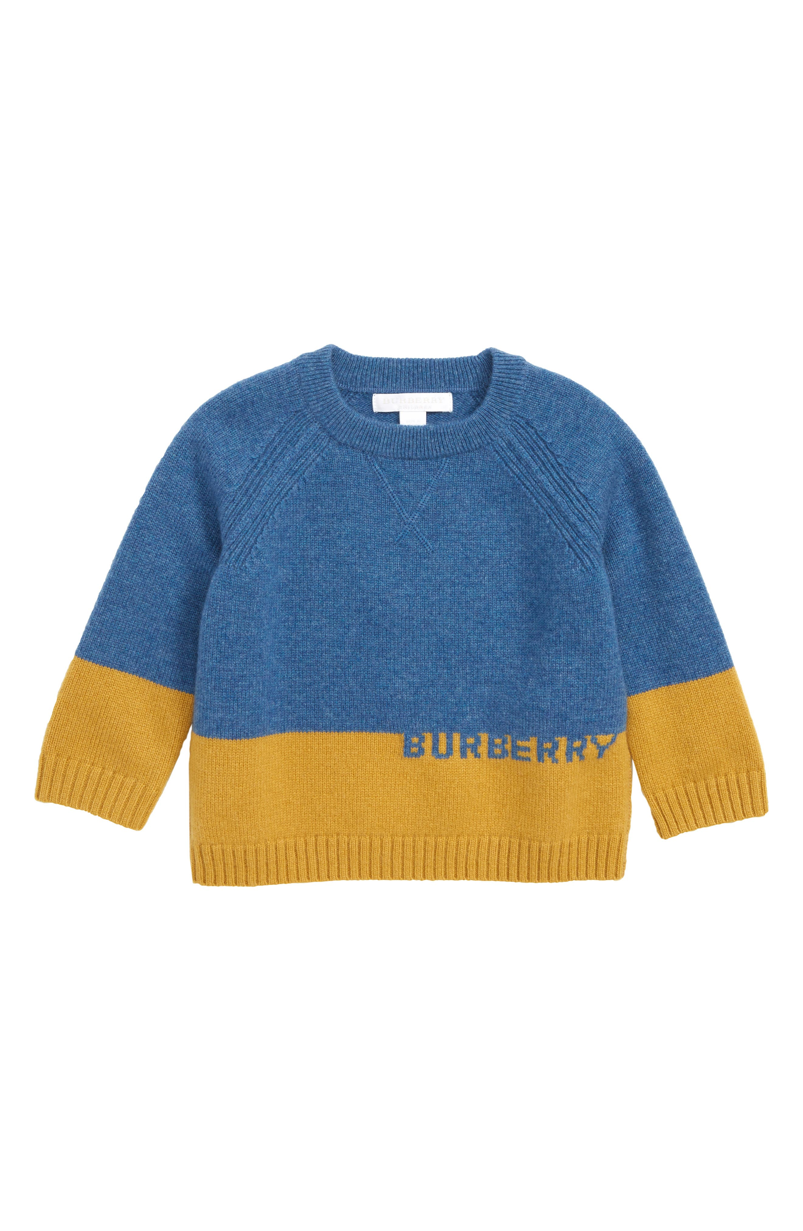 BURBERRY Alister Cashmere Sweater, Main, color, DUSTY BLUE MELANGE