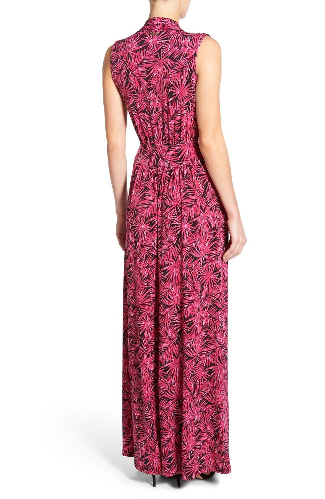 MICHAEL MICHAEL KORS, Print Jersey Side Slit Maxi Dress, Alternate thumbnail 5, color, 660