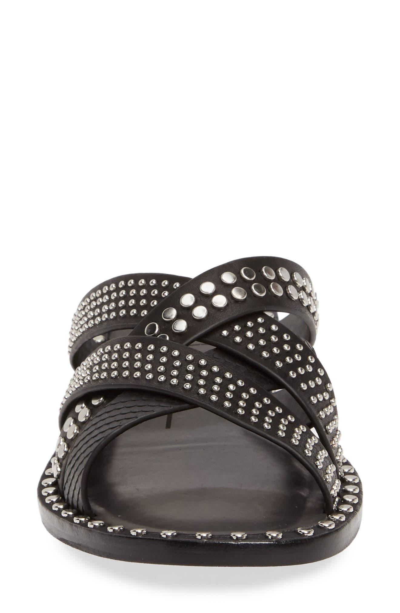 DOLCE VITA, Corbey Studded Slide Sandal, Alternate thumbnail 4, color, BLACK LEATHER
