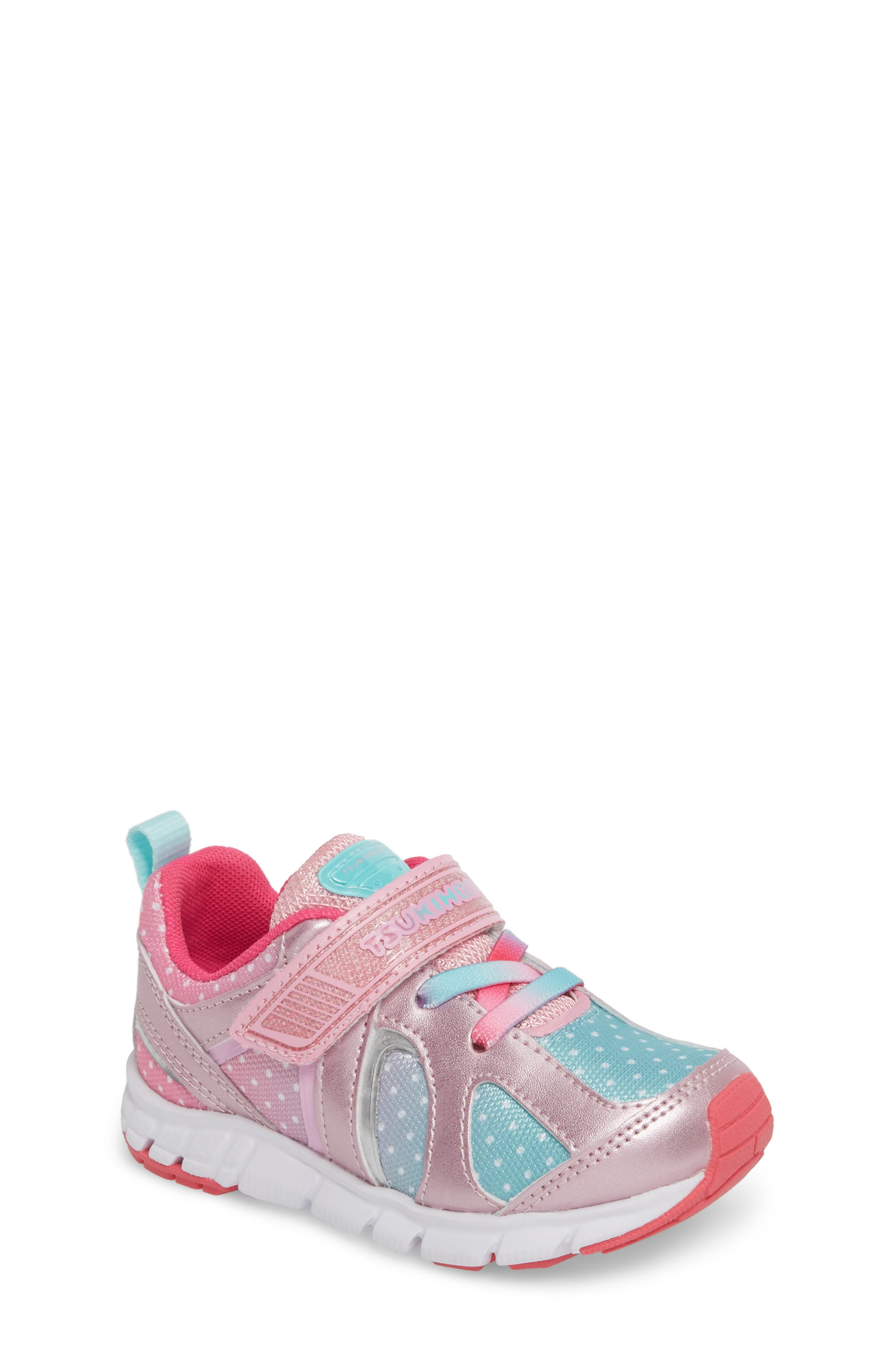 TSUKIHOSHI, Rainbow Washable Sneaker, Main thumbnail 1, color, ROSE/ MINT