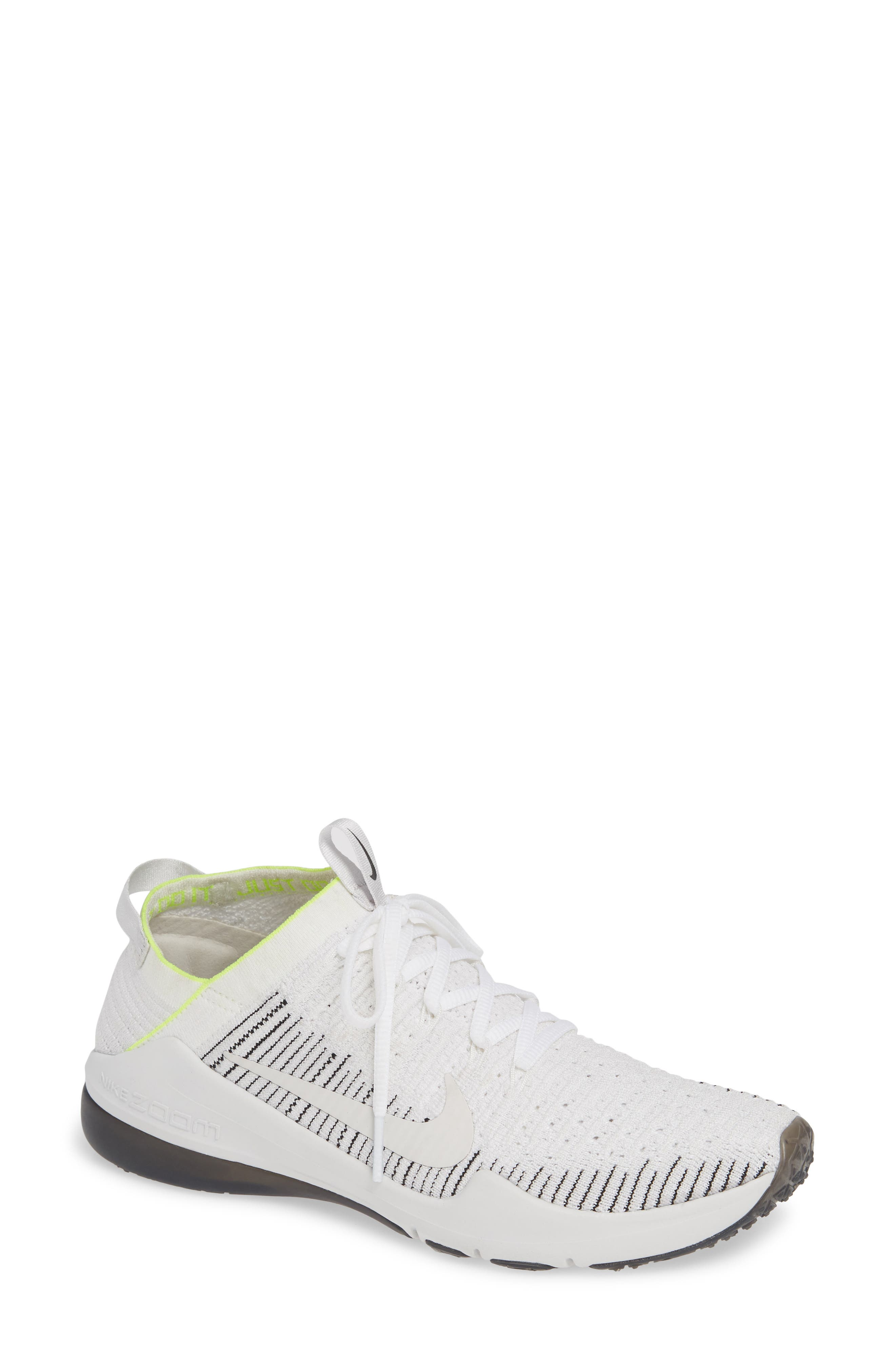 NIKE, Air Zoom Fearless Flyknit 2 Training Sneaker, Main thumbnail 1, color, WHITE/ PLATINUM TINT/ BLACK