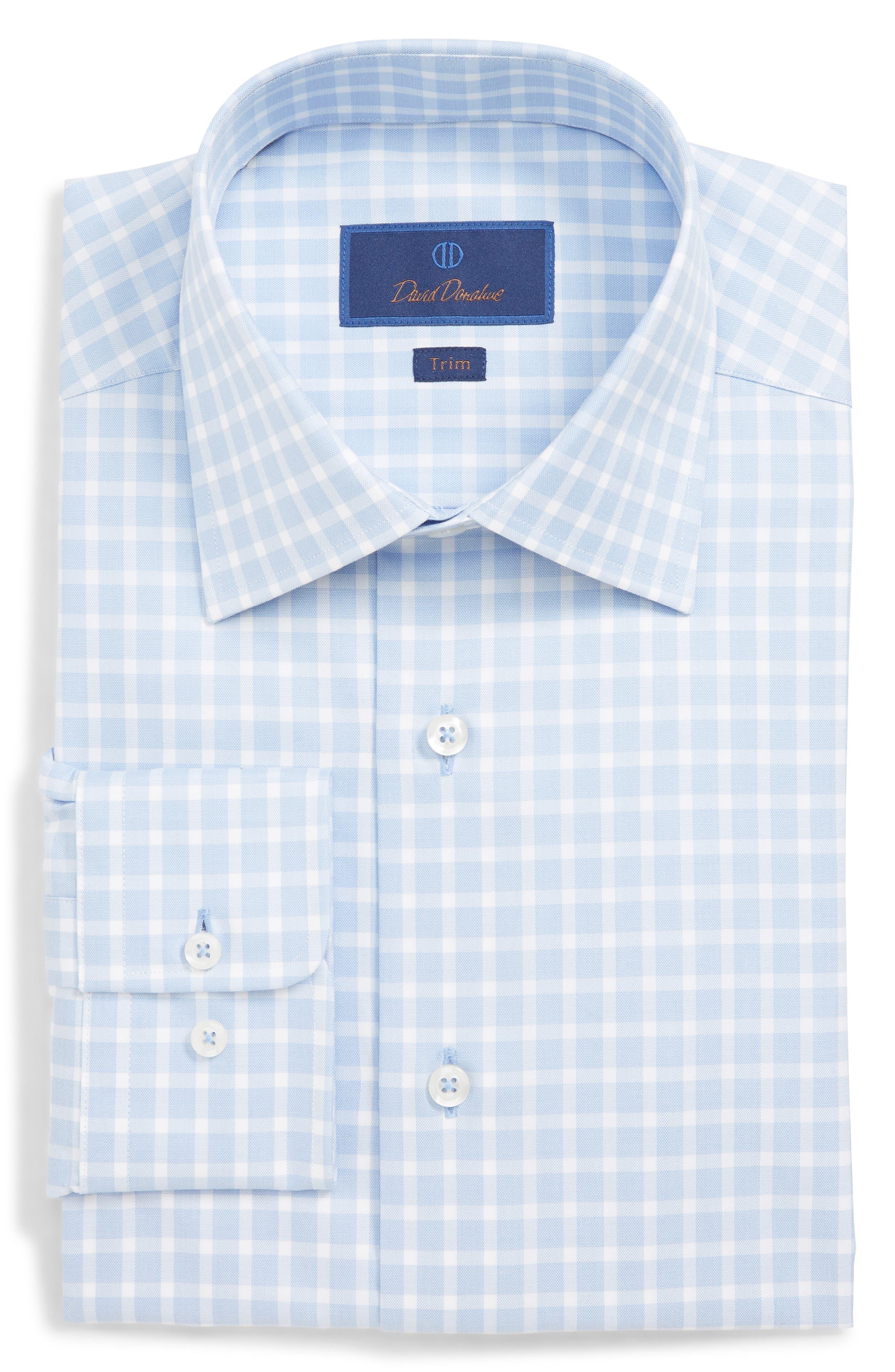DAVID DONAHUE, Trim Fit Check Dress Shirt, Alternate thumbnail 5, color, BLUE