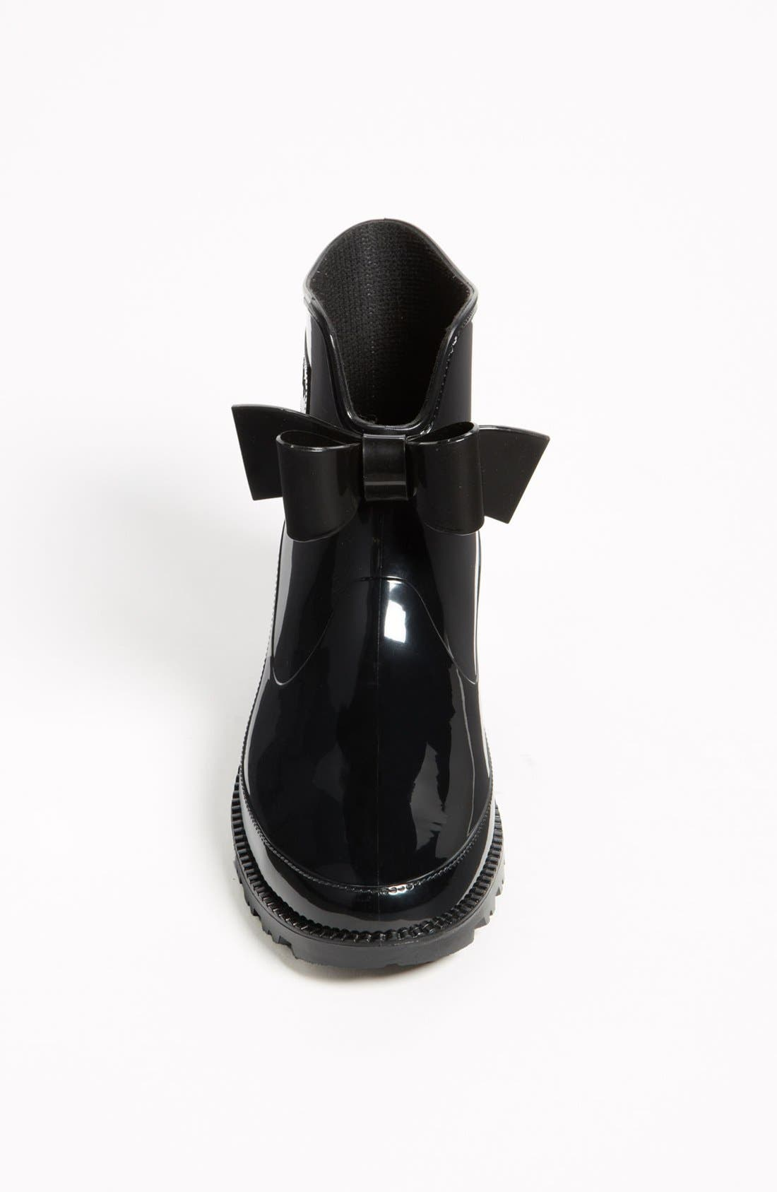 RED VALENTINO, 'Bow' Rain Boot, Alternate thumbnail 4, color, 001