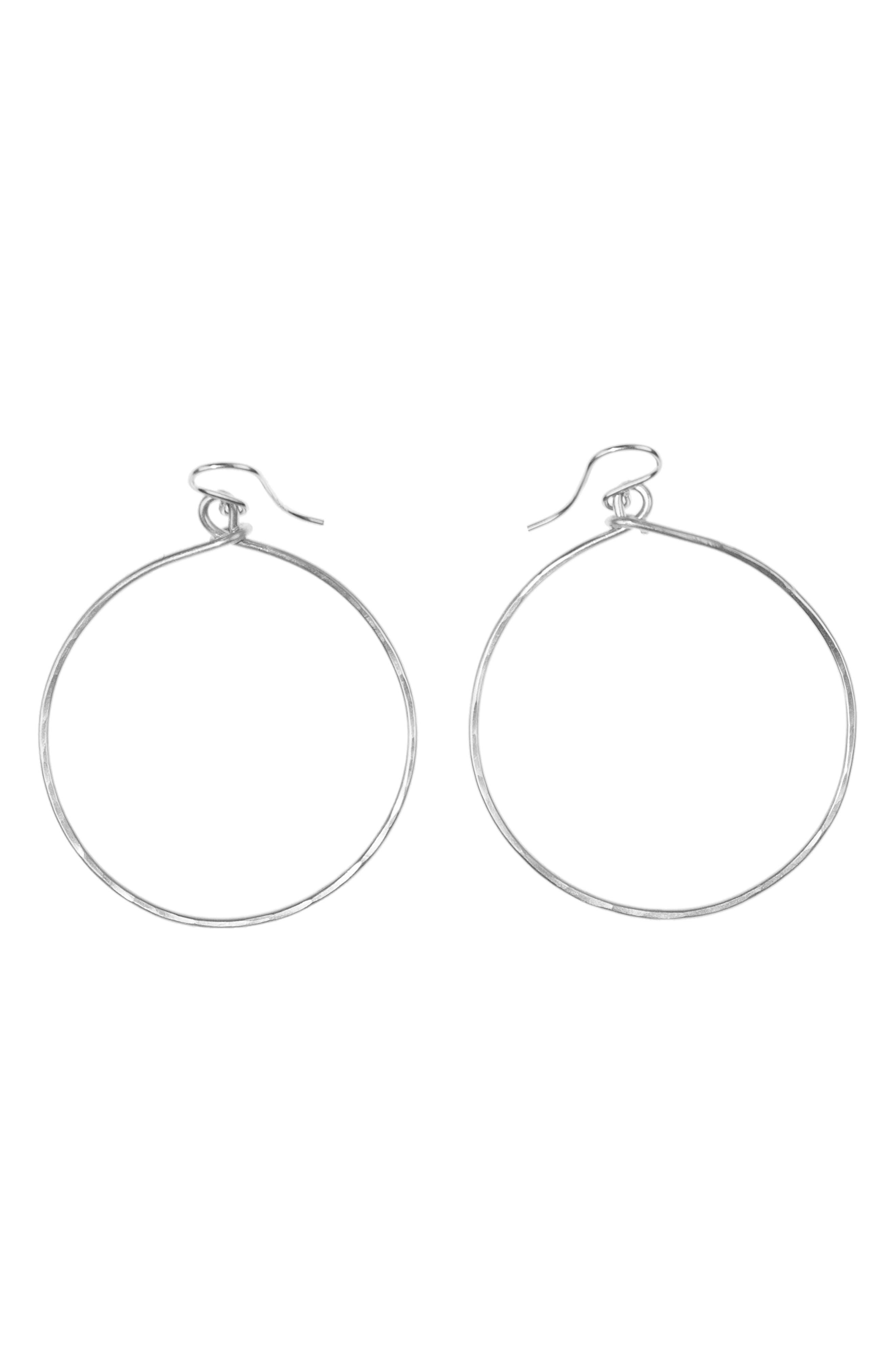 NASHELLE, Medium Loop Earrings, Main thumbnail 1, color, SILVER