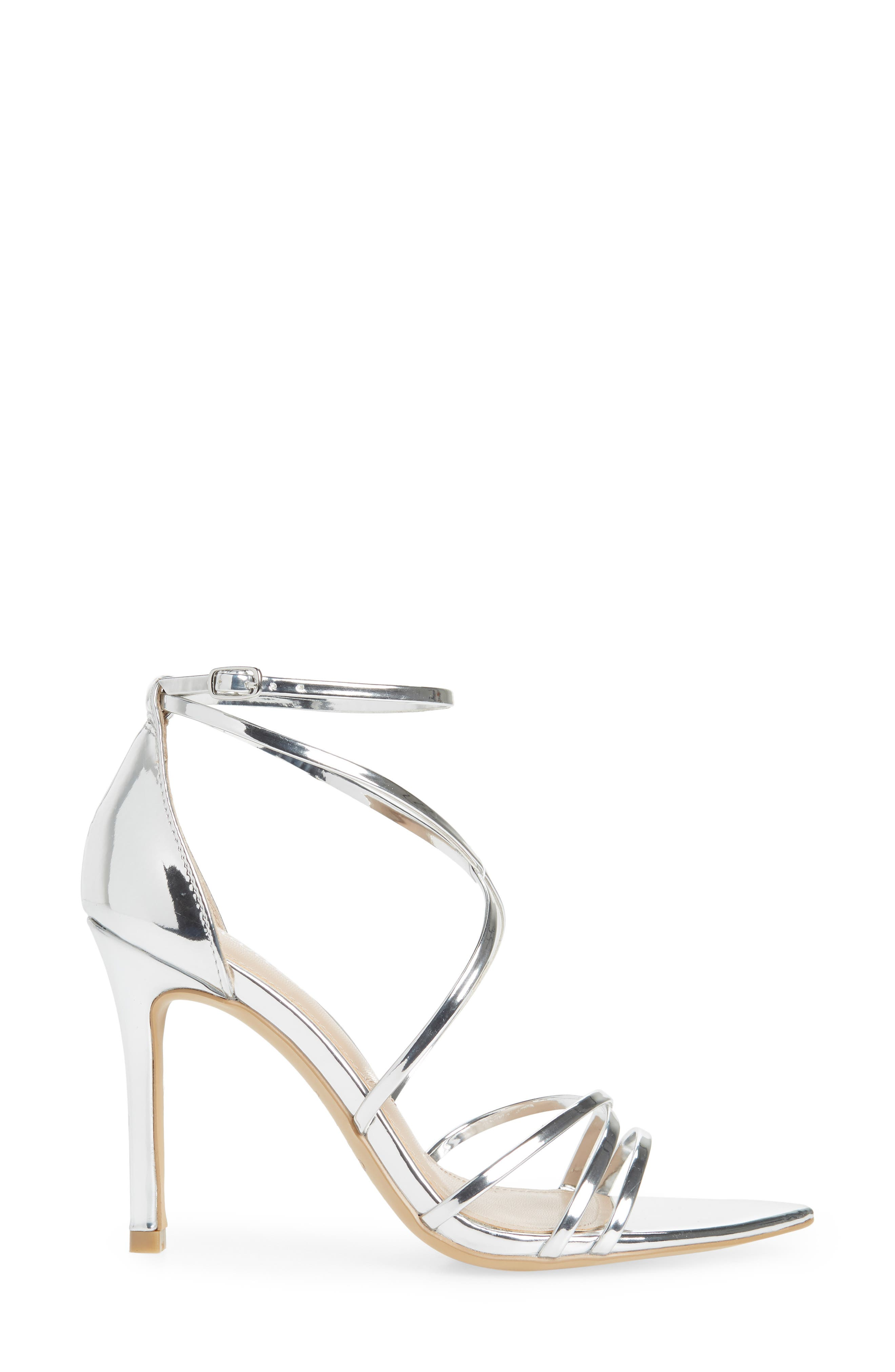 CHARLES BY CHARLES DAVID, Trickster Strappy Sandal, Alternate thumbnail 3, color, SILVER FAUX LEATHER