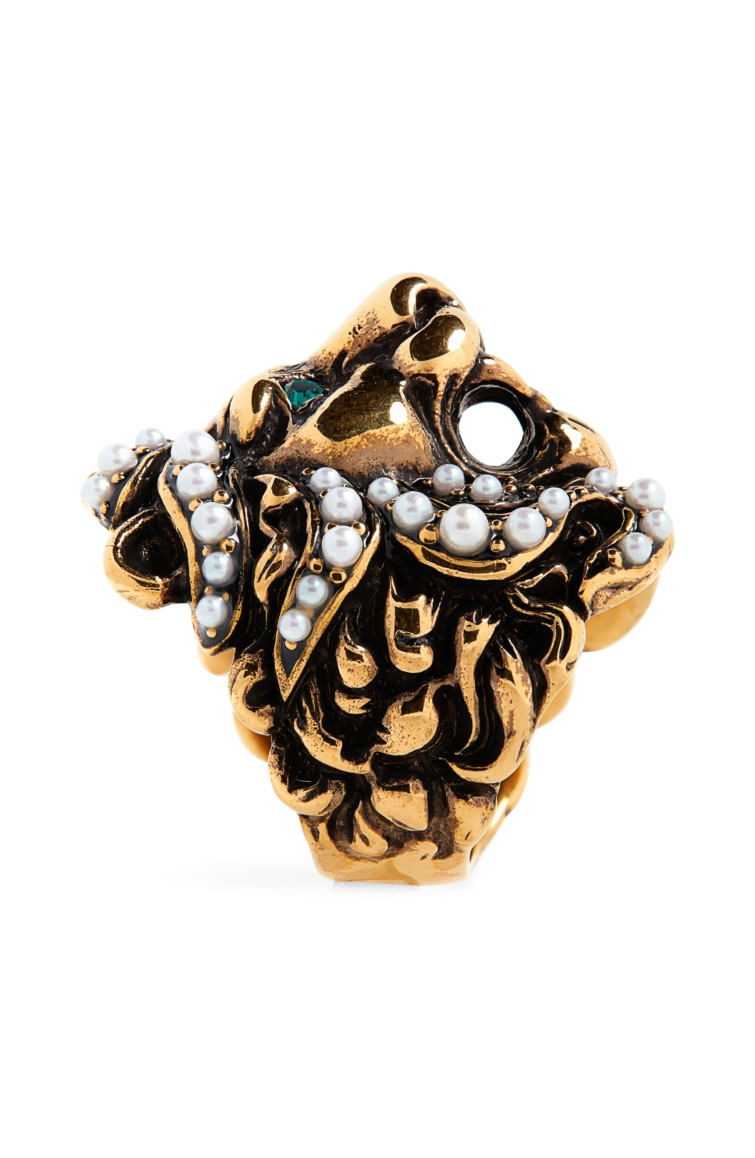 GUCCI, Lion Head Imitation Pearl & Crystal Ring, Alternate thumbnail 2, color, GOLD/ PEARL