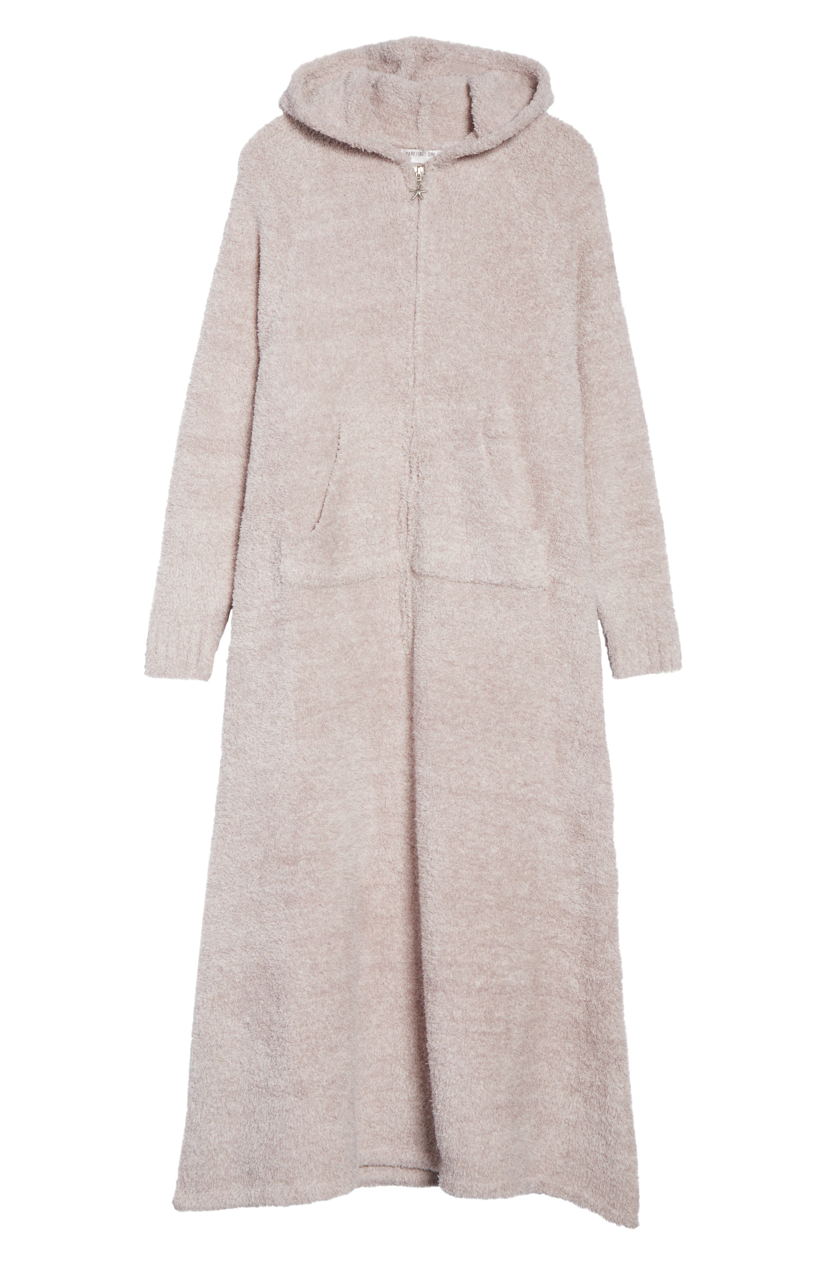 BAREFOOT DREAMS<SUP>®</SUP>, CozyChic<sup>®</sup> Hooded Zip Robe, Alternate thumbnail 6, color, OYSTER/ WHITE